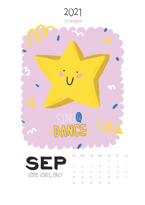 September 2021 Calendar Printable for Kids