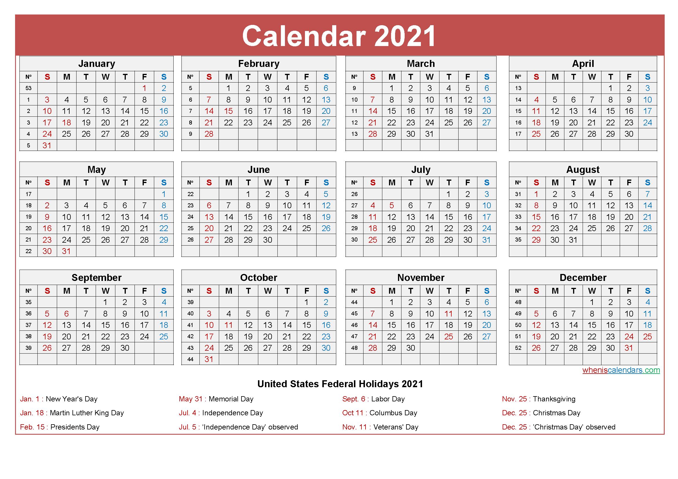 free printable 2021 calendar with holidays
