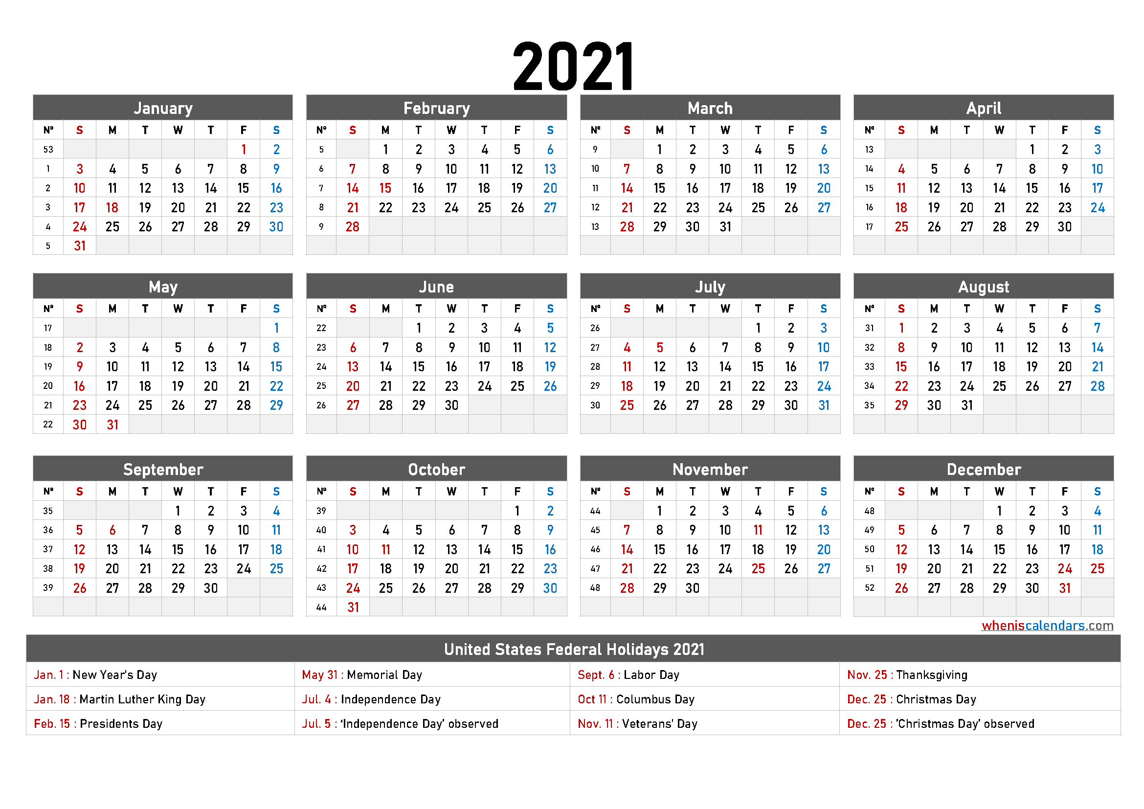 free printable 2021 calendar with holidays. full year calendar 2021 on one page