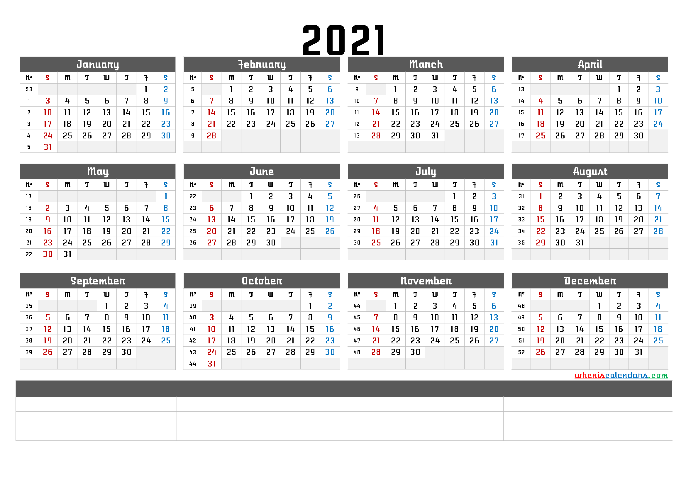 free printable 2021 calendar with week numbers and space for notes. full year calendar 2021 on one page