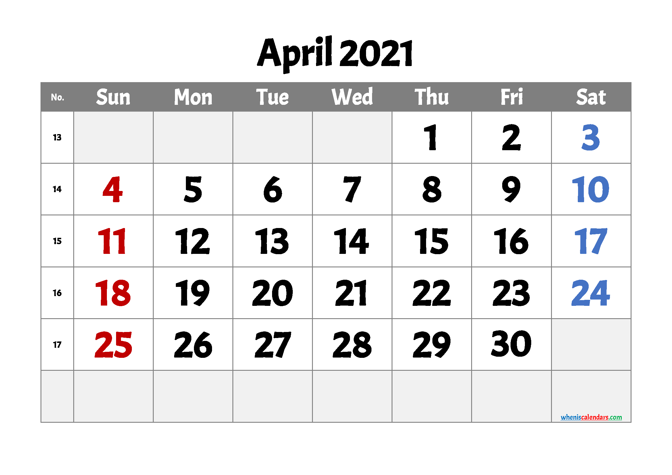 free printable april 2021 calendar with week numbers