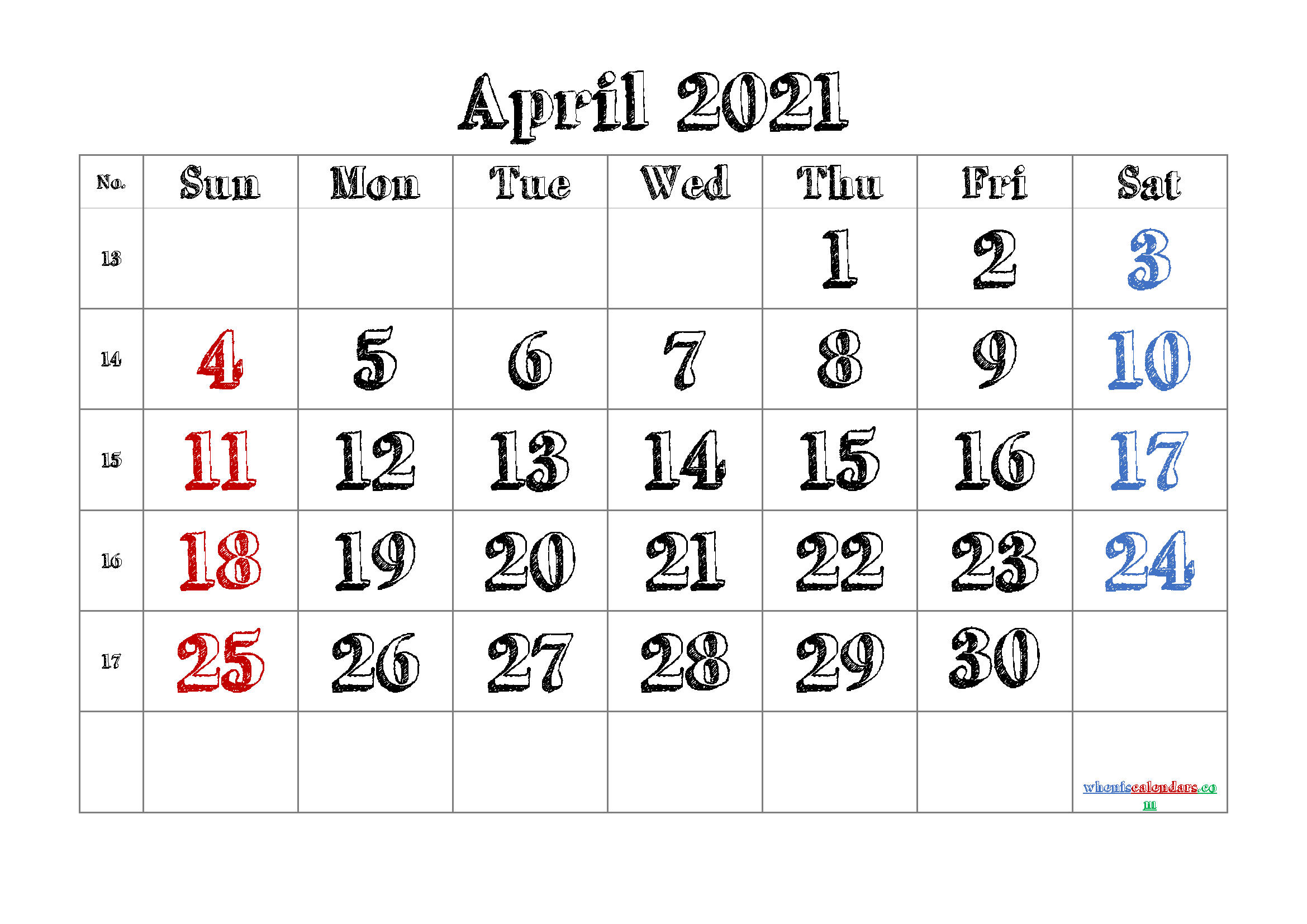 Printable Calendar for April 2021
