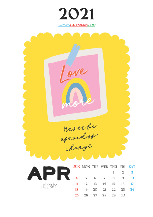 free printable april 2021 calendar cute, download or print out this awesome free cute printable calendar 2021 for kids