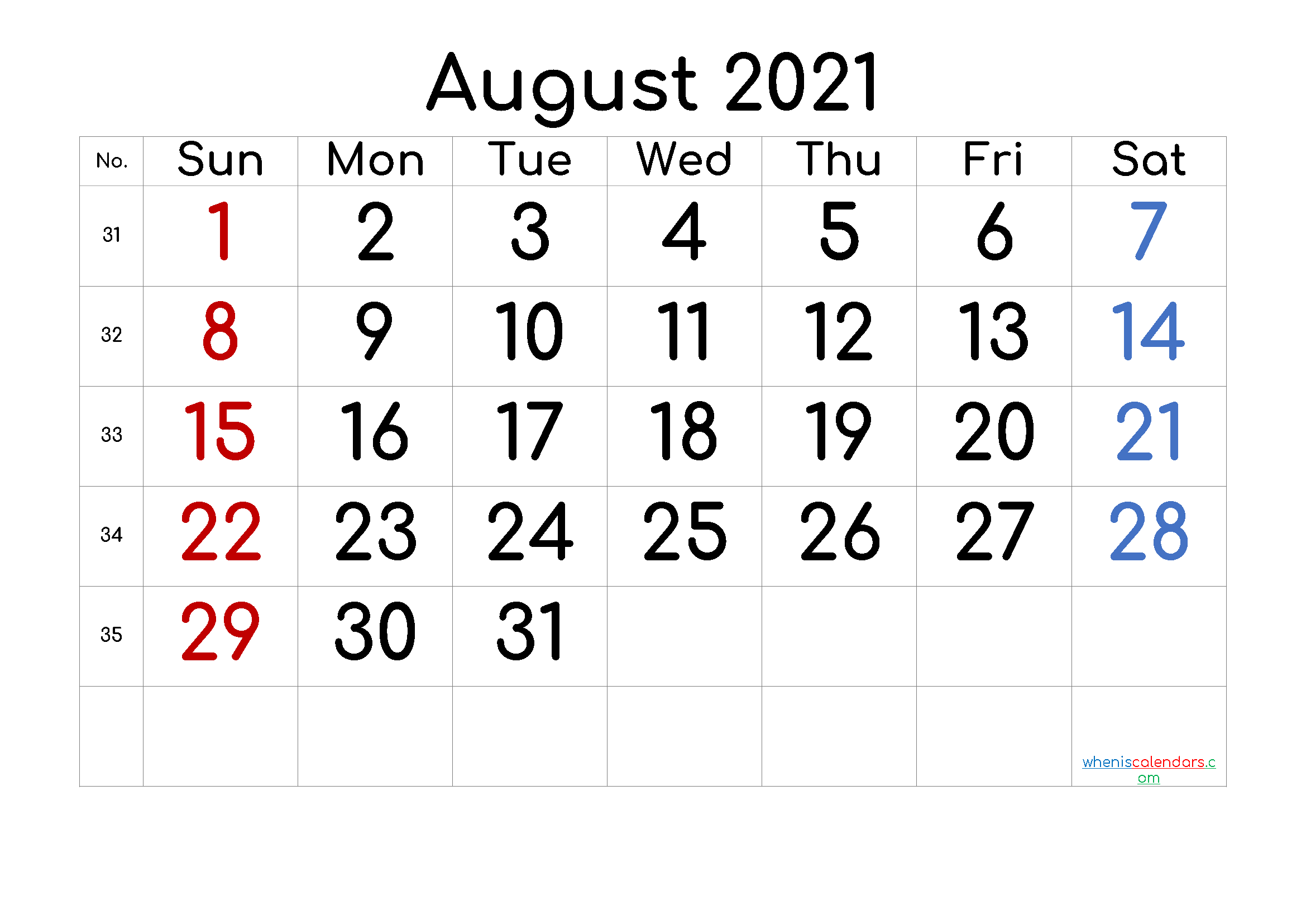 free printable august 2021 calendar with holidays