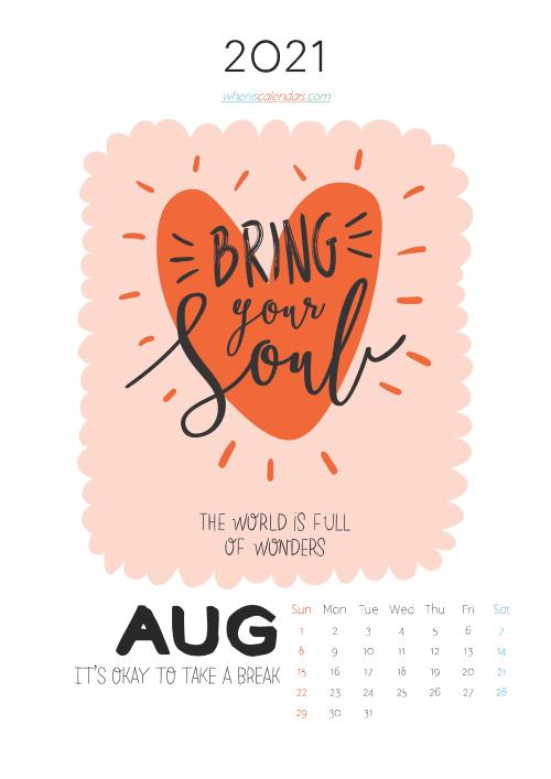 free printable august 2021 calendar cute. awesome free printable 2021 calendar for kids