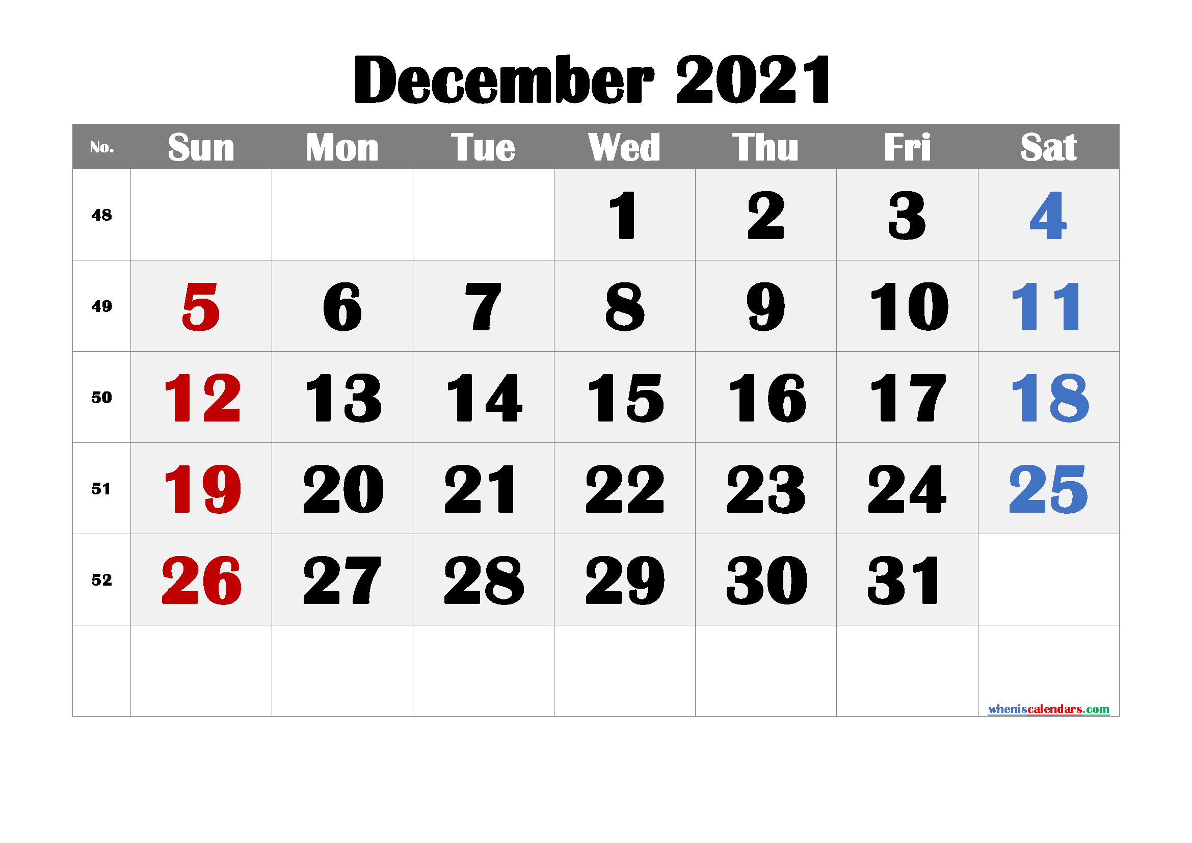 free printable december 2021 calendar with week numbers