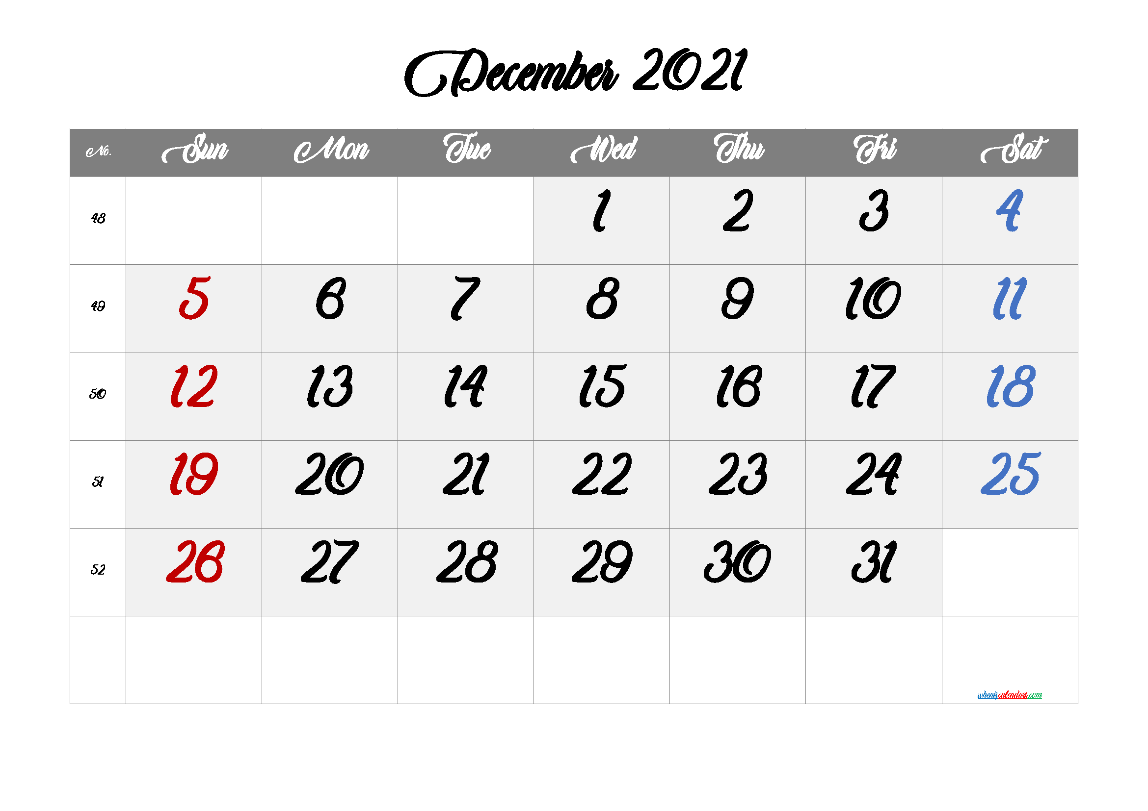 free printable december 2021 calendar with week numbers
