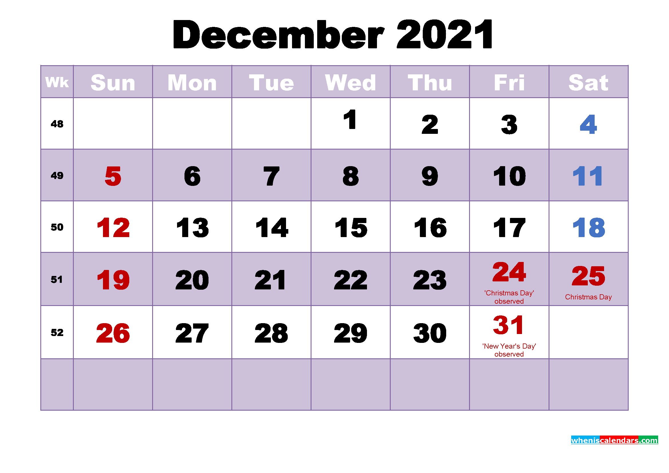 free printable december 2021 calendar with holidays