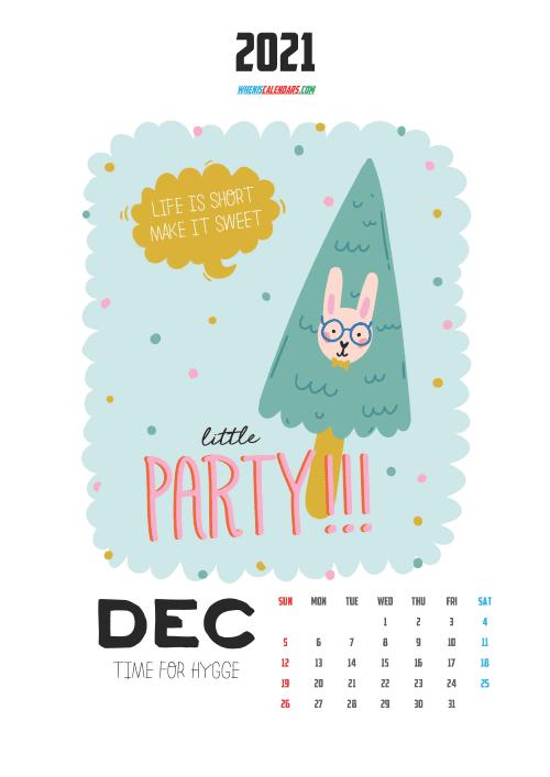 free printable december 2021 calendar cute, free cute printable calendar 2021 calendar for kids