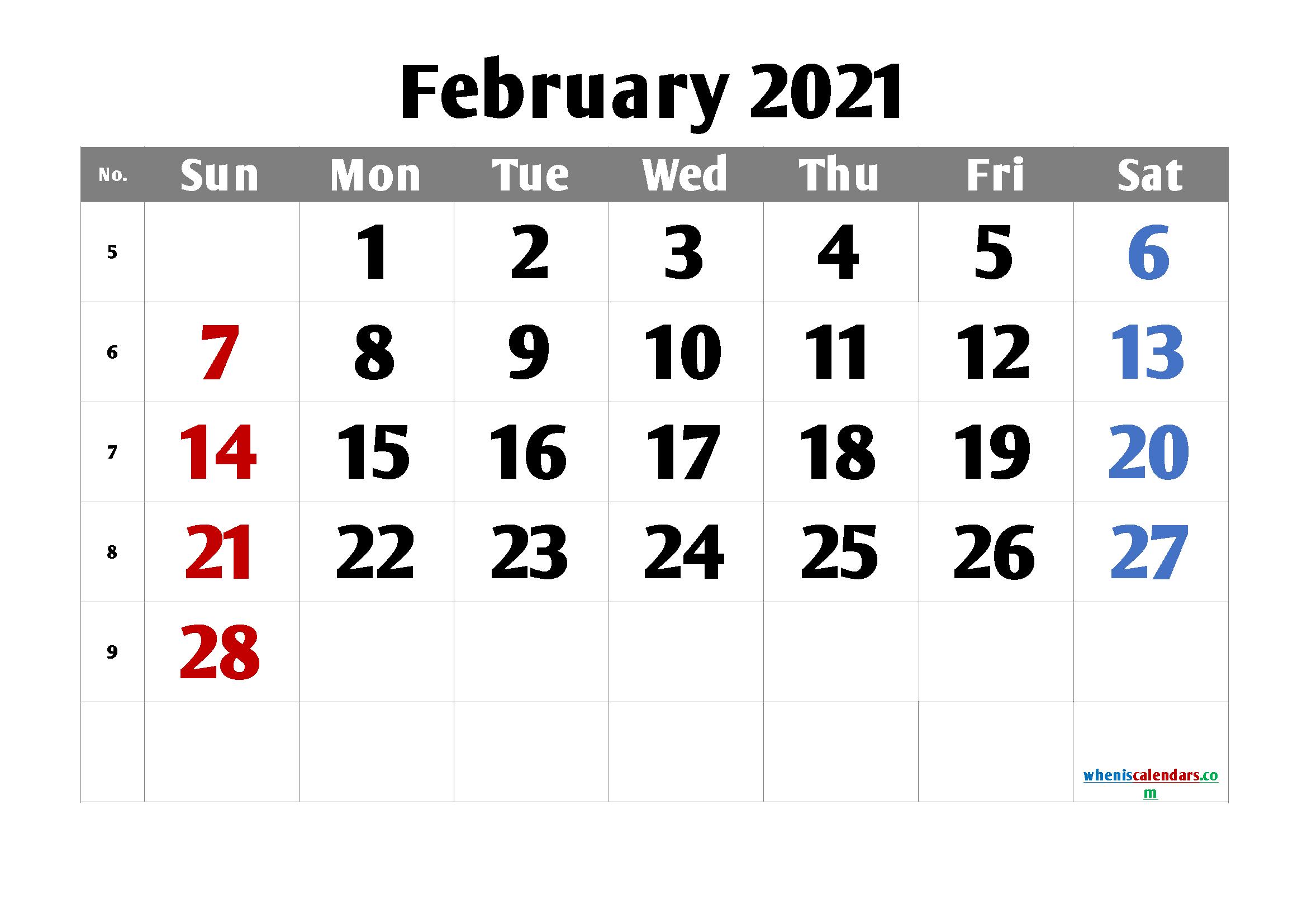 free printable february 2021 calendar with week numbers