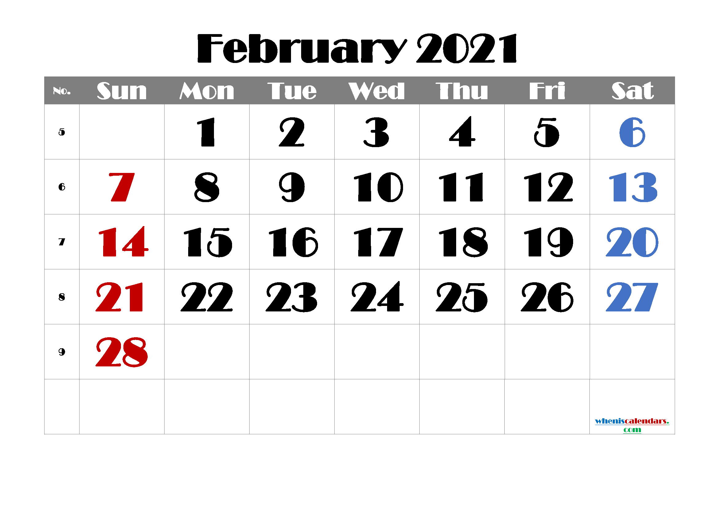 free printable february 2021 calendar with week numbers