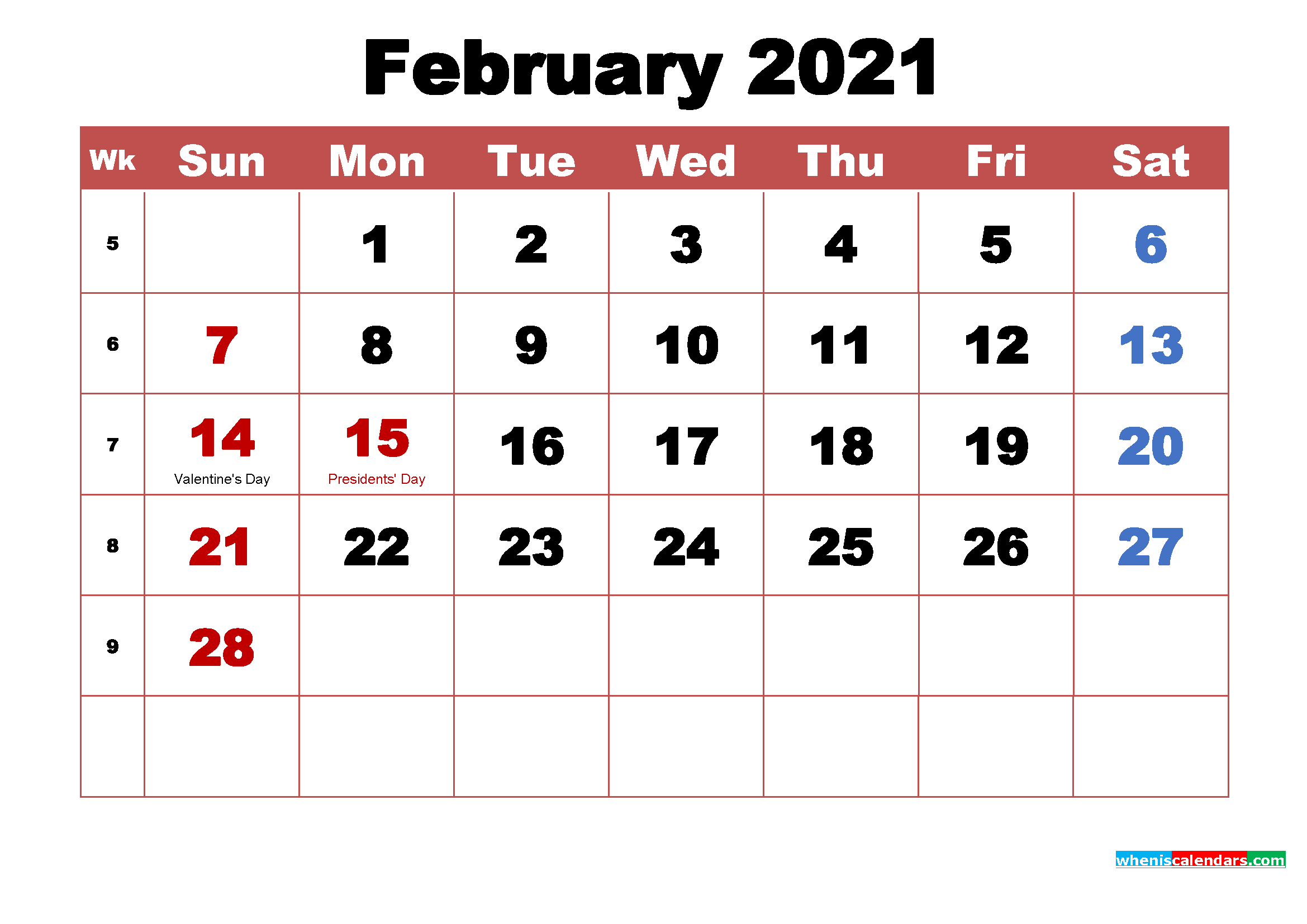 free printable february 2021 calendar with holidays