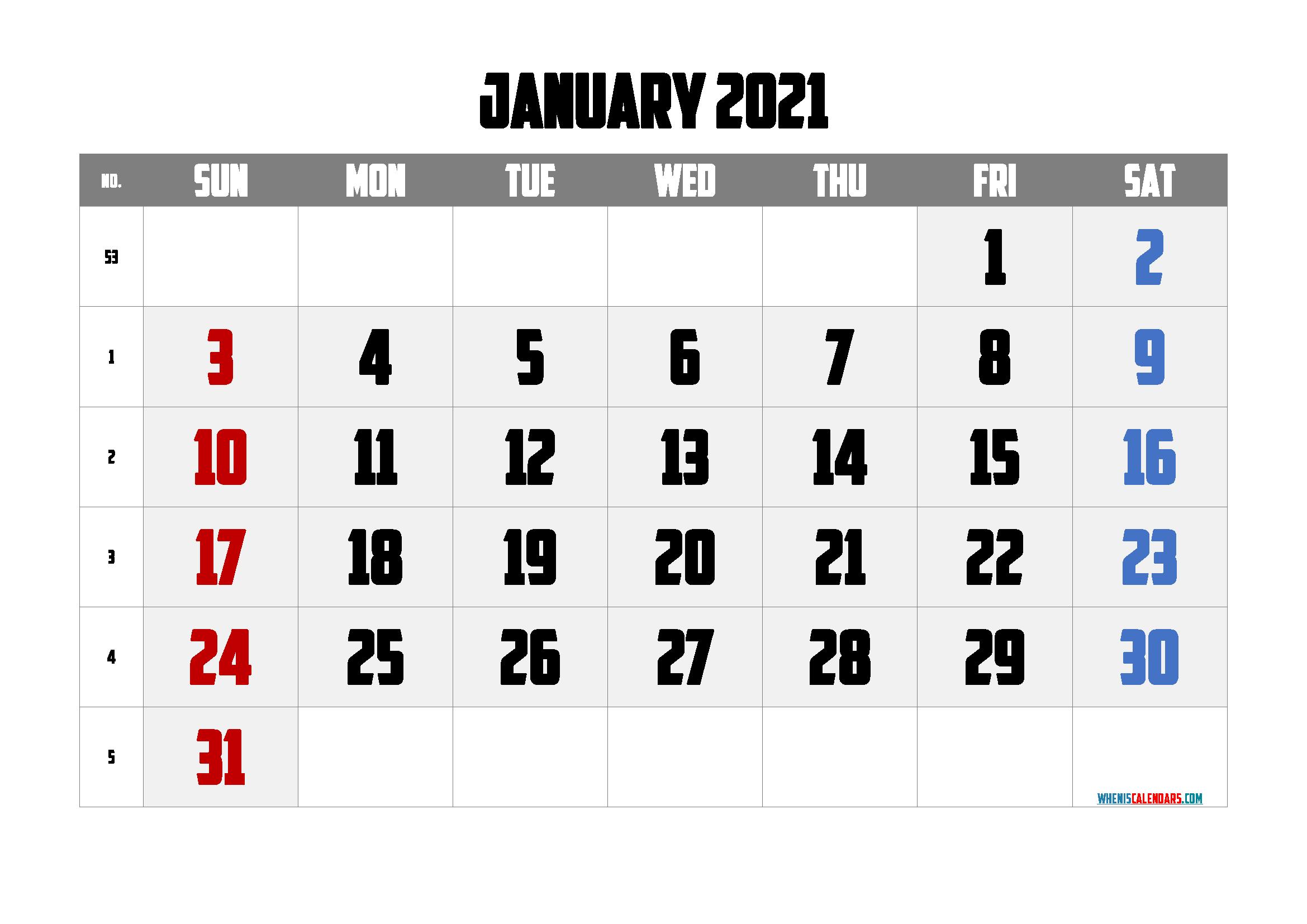 free printable january 2021 calendar with week numbers