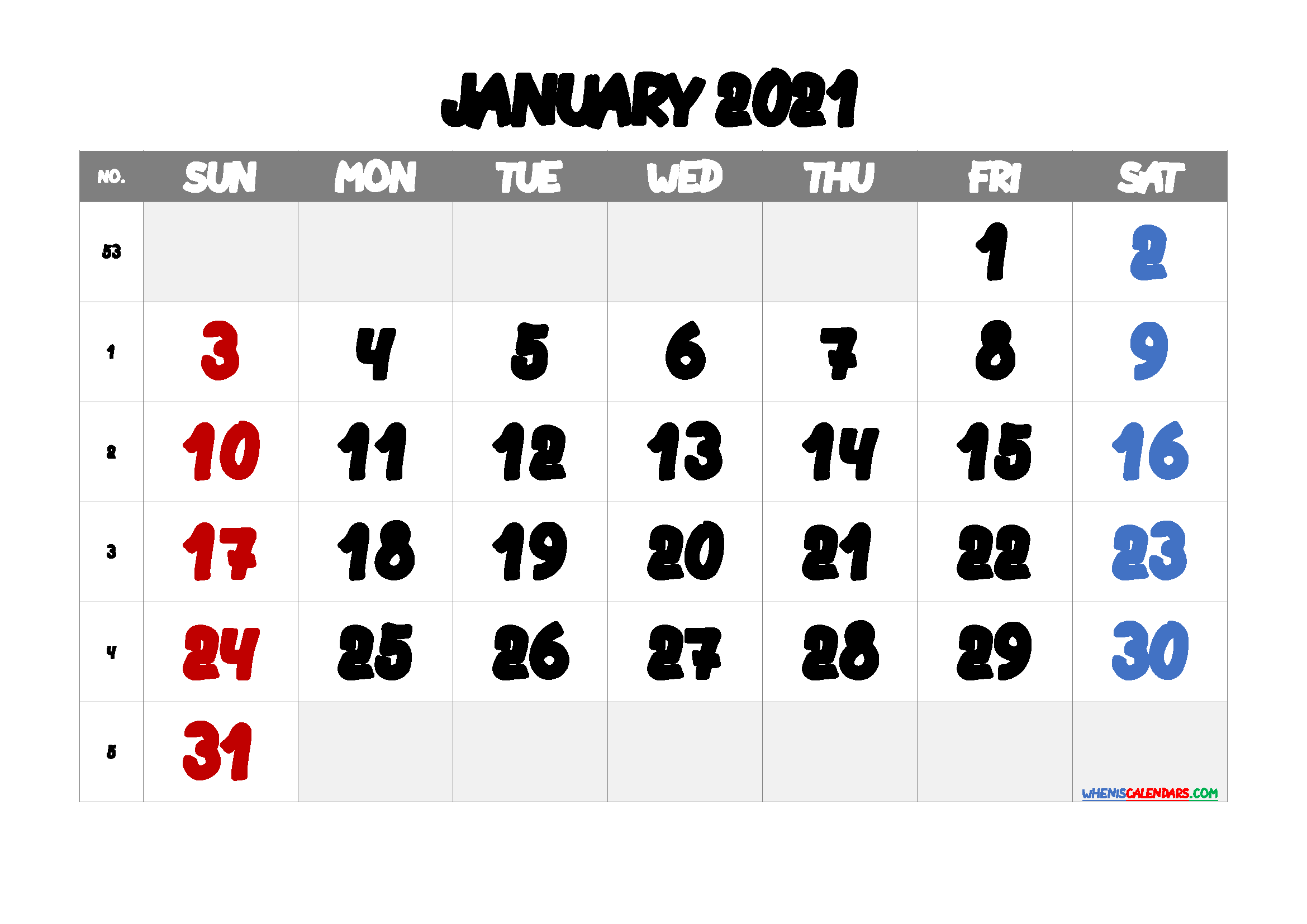 free printable january 2021 calendar with week numbers