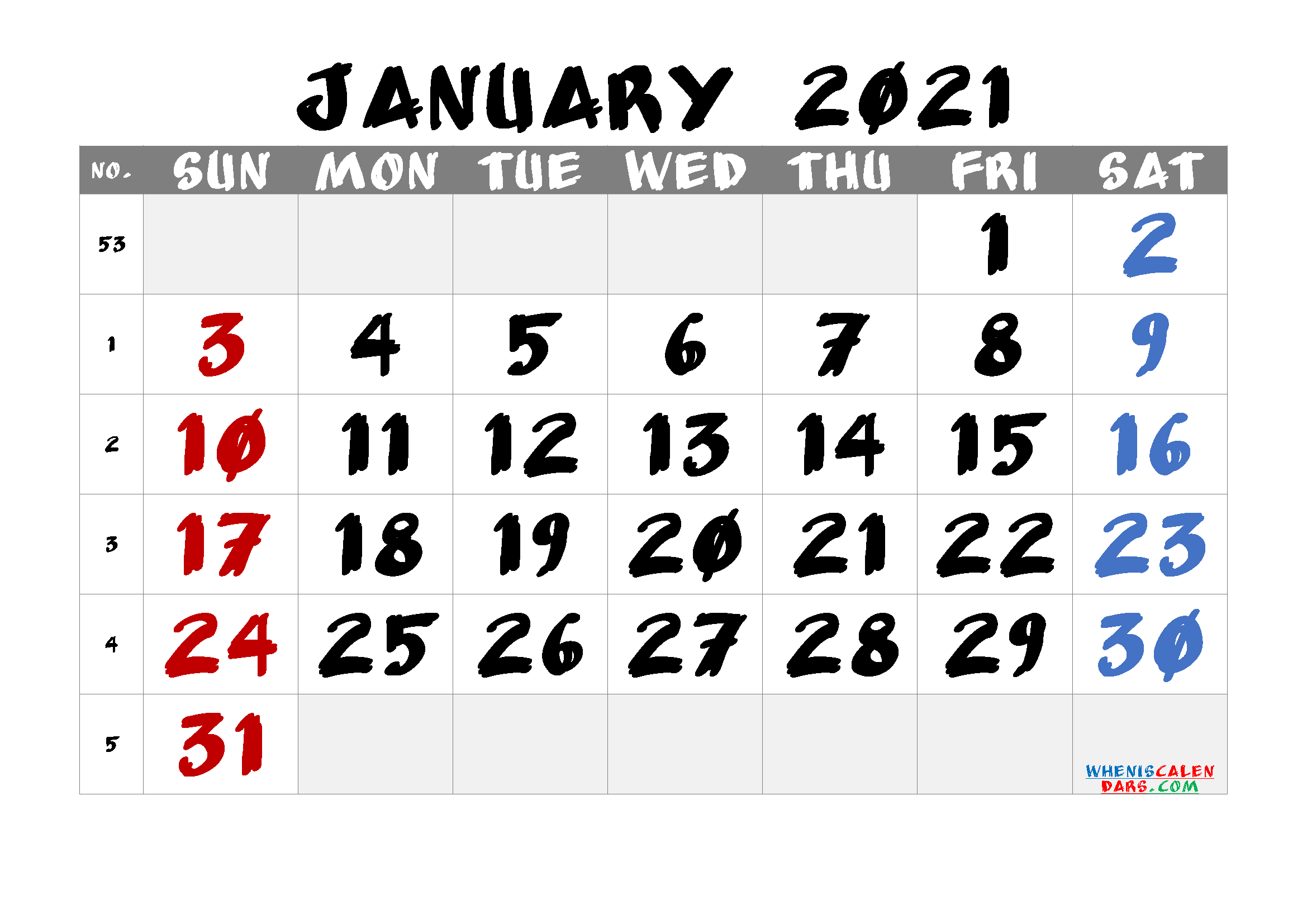 Printable Calendar for January 2021