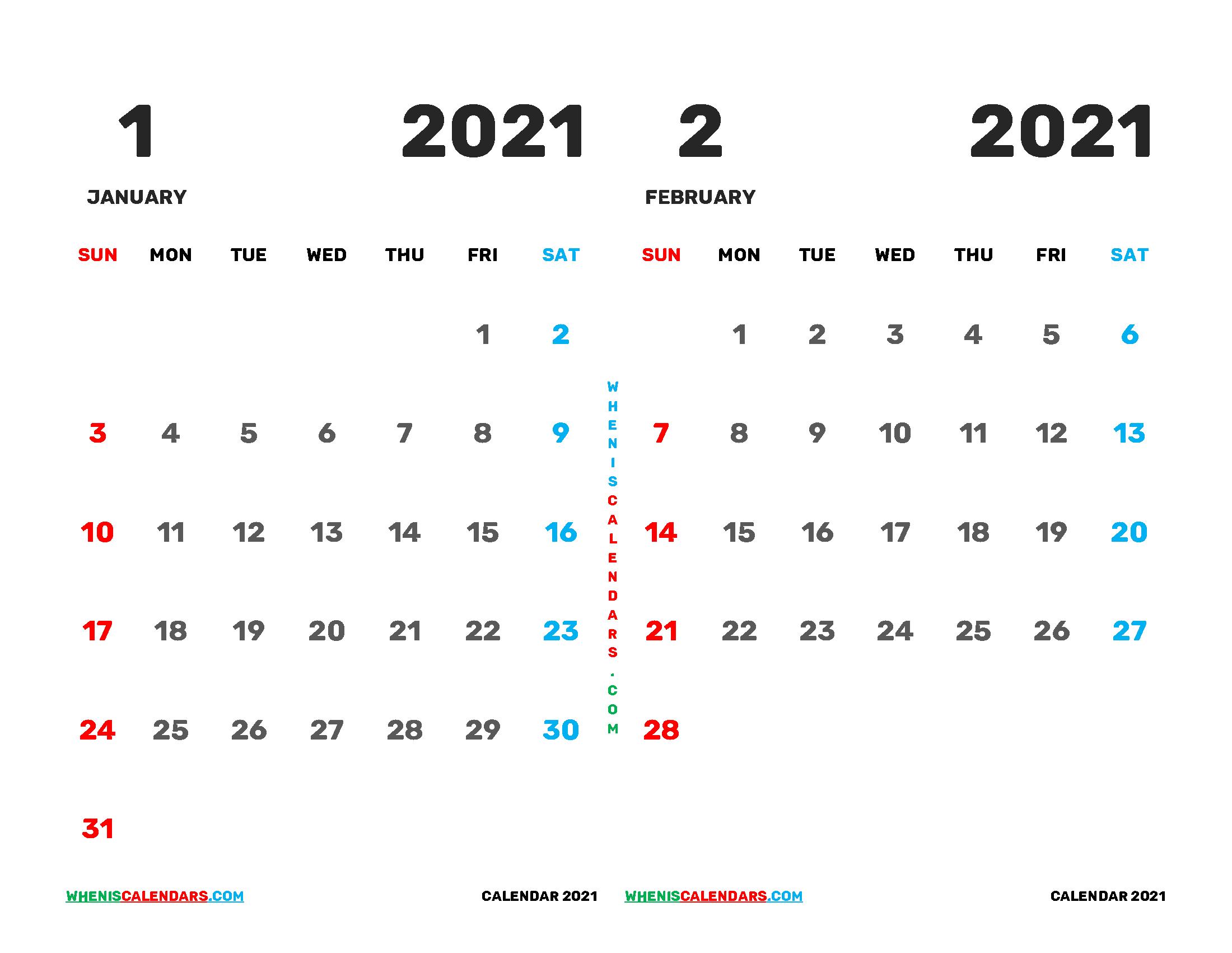 January February 2021 Calendar Printable