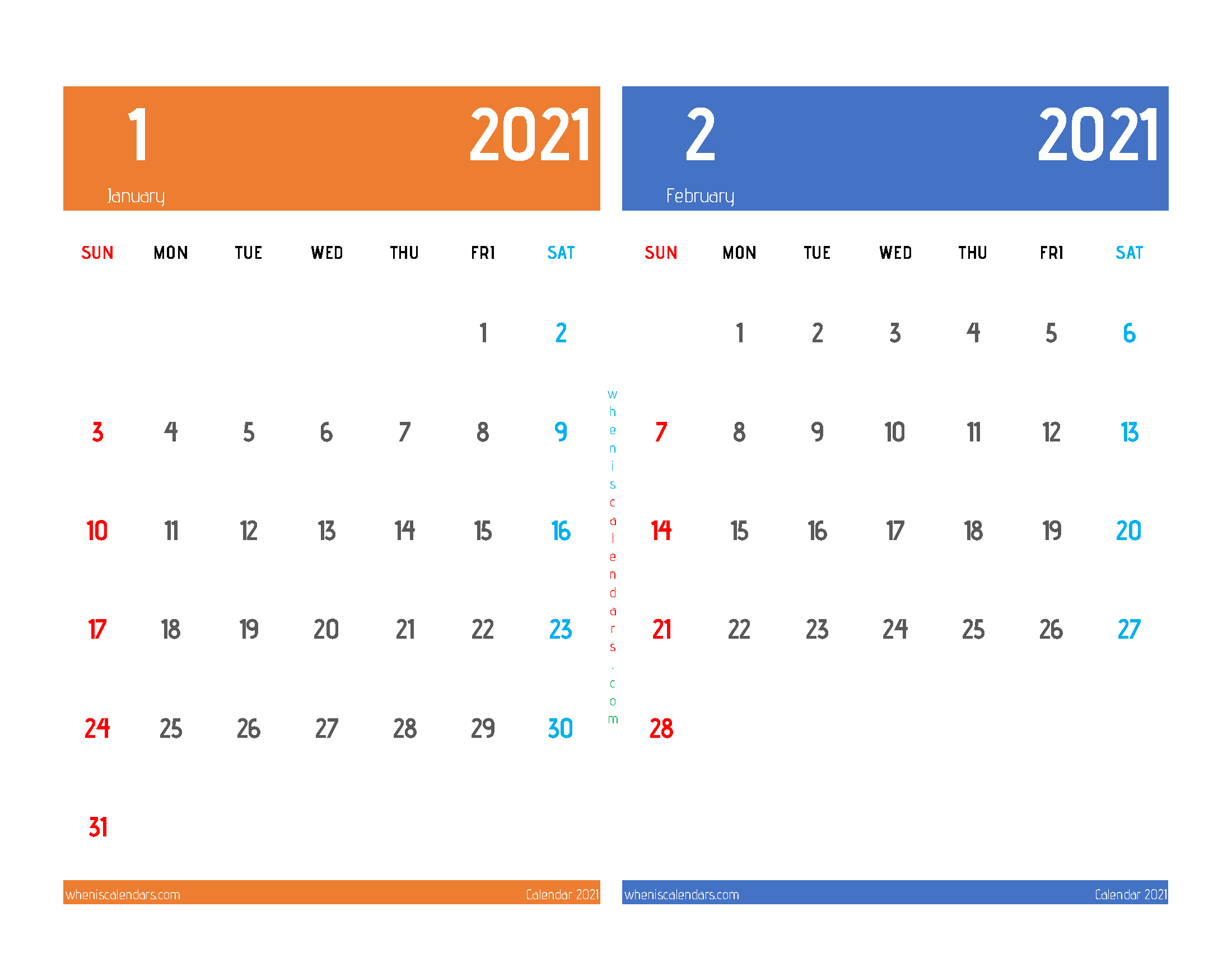 Free January and February 2021 Calendar Printable