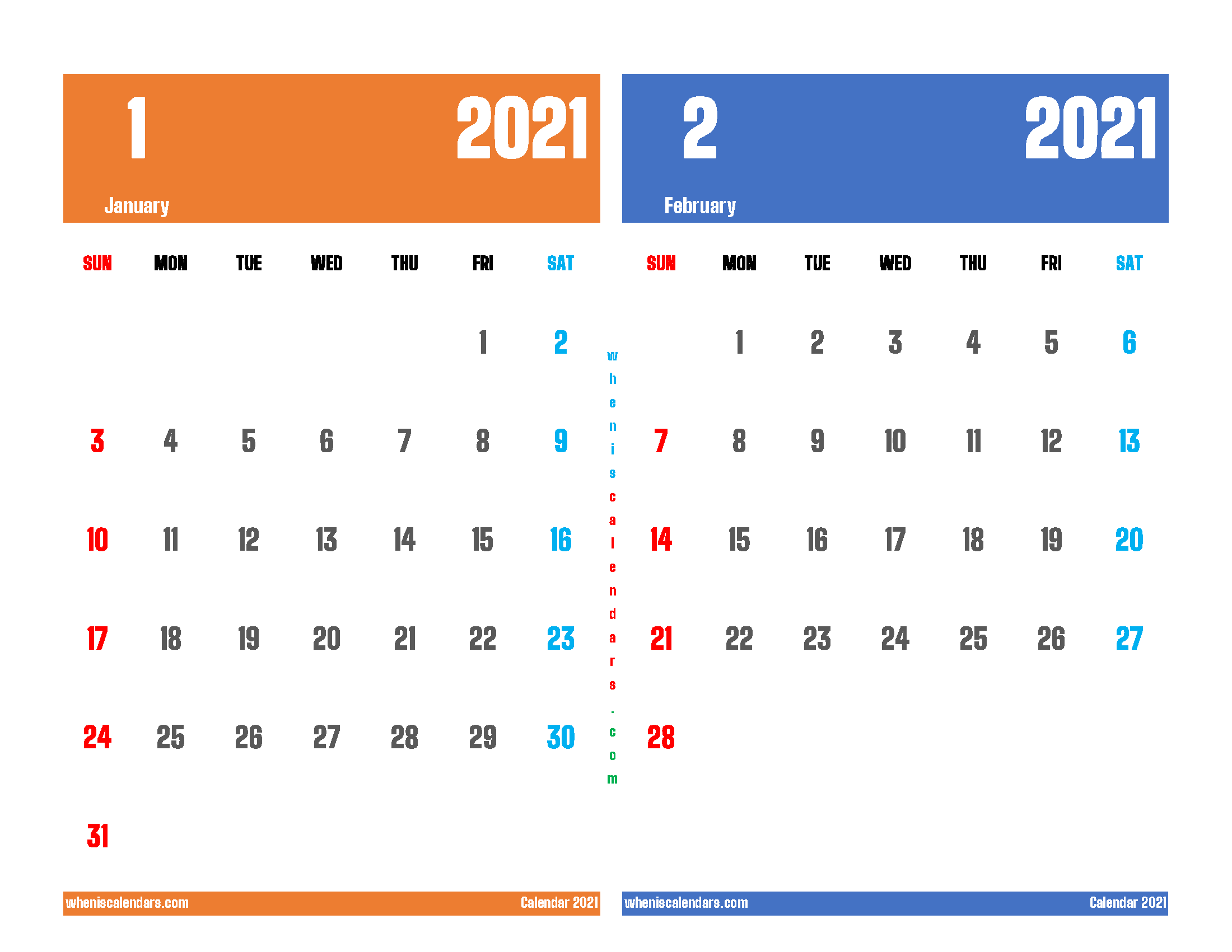 Printable January and February 2021 Calendar