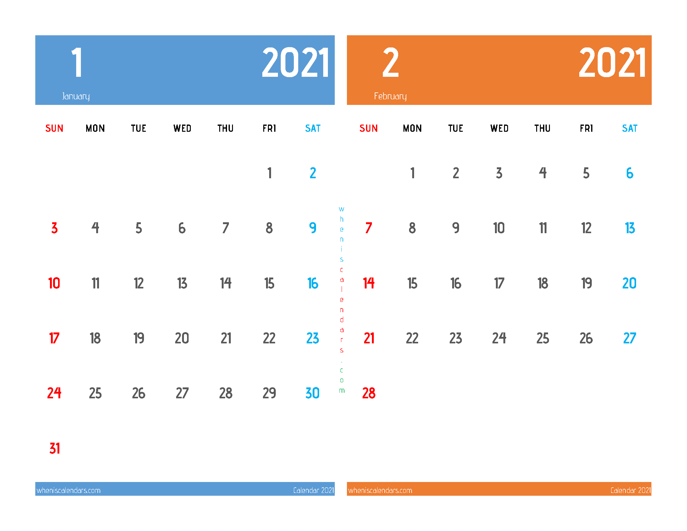 Printable Calendar 2021 January February