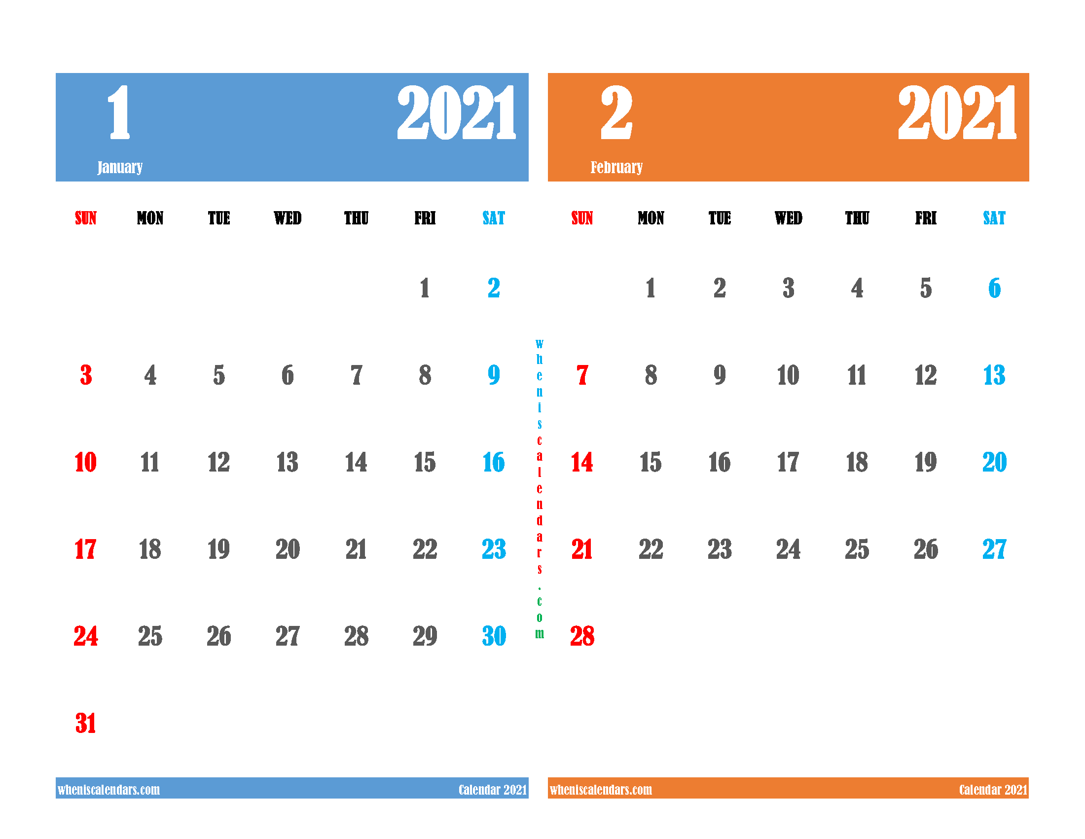 January and February 2021 Calendar Printable Free