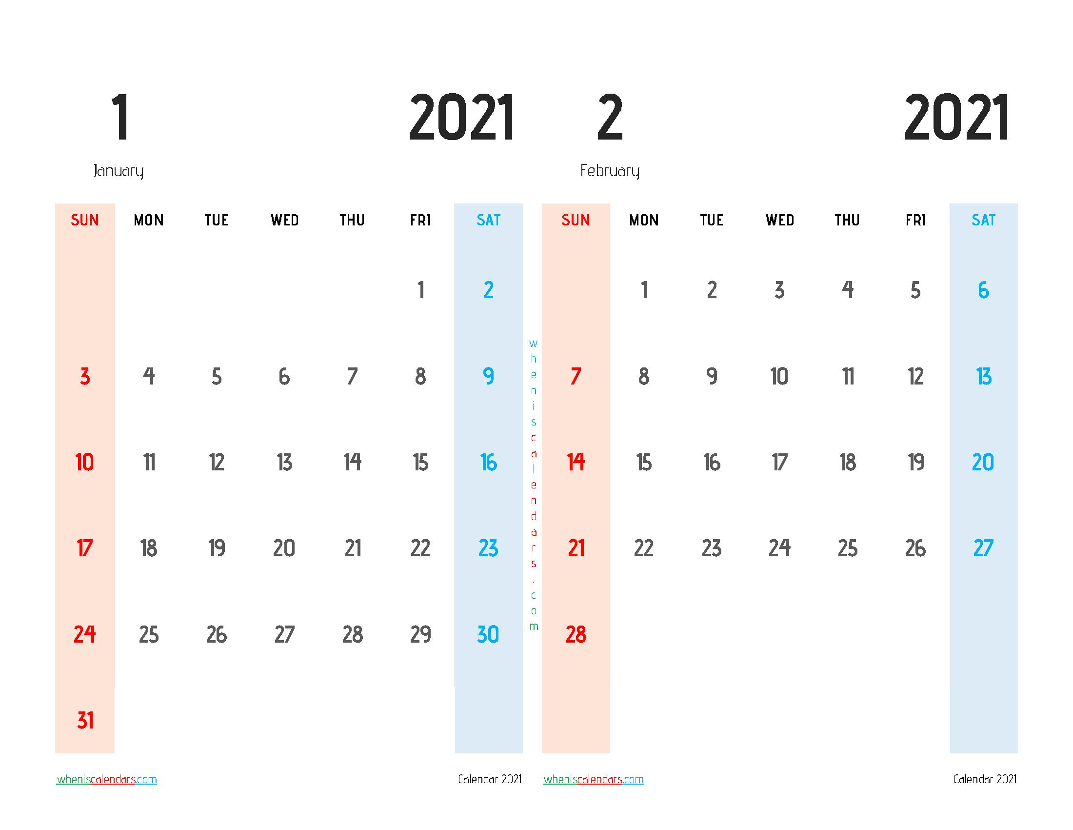 Free January February 2021 Calendar Printable