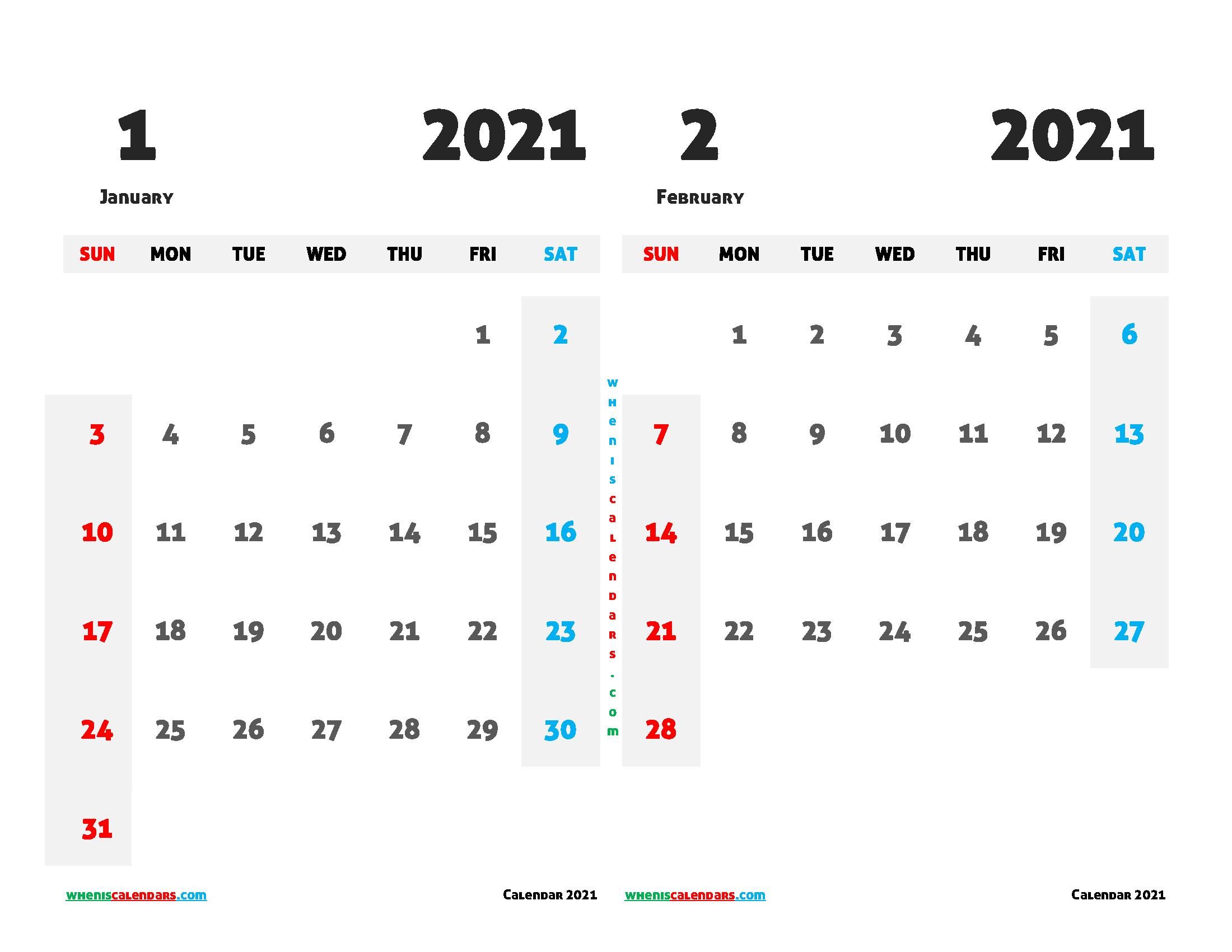 January and February 2021 Calendar Printable