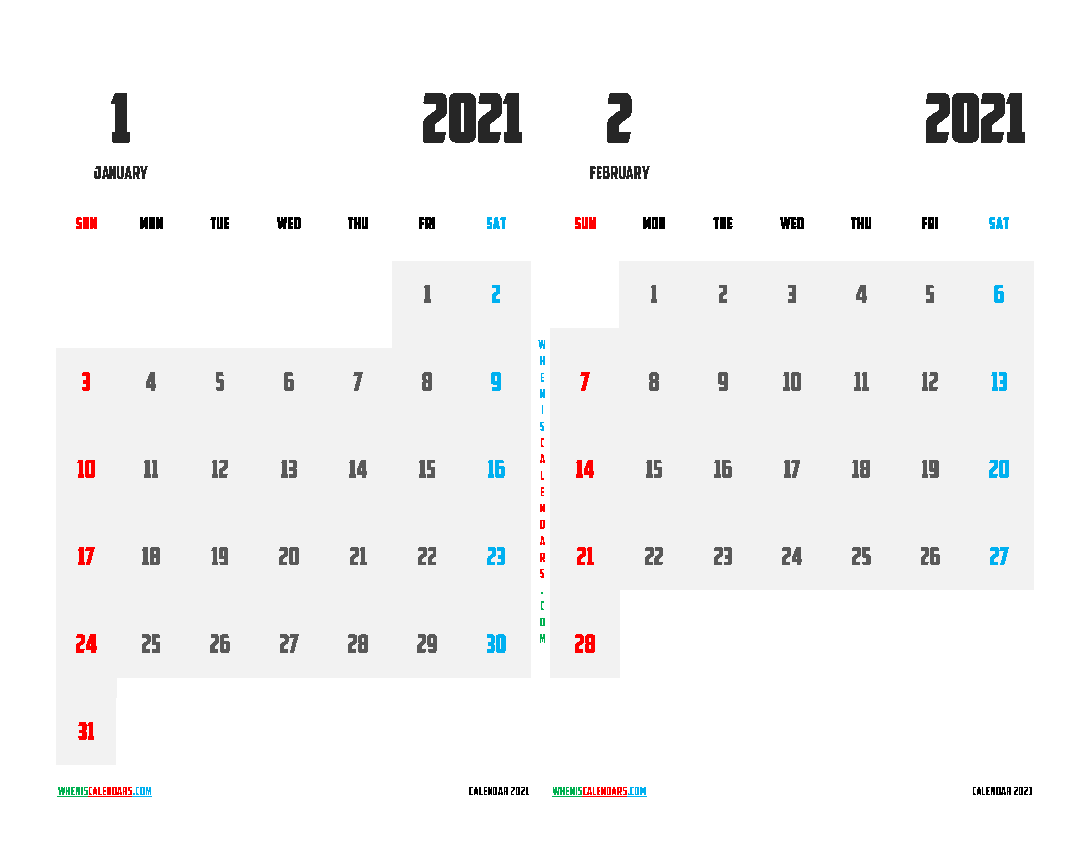 Printable Calendar 2021 January and February