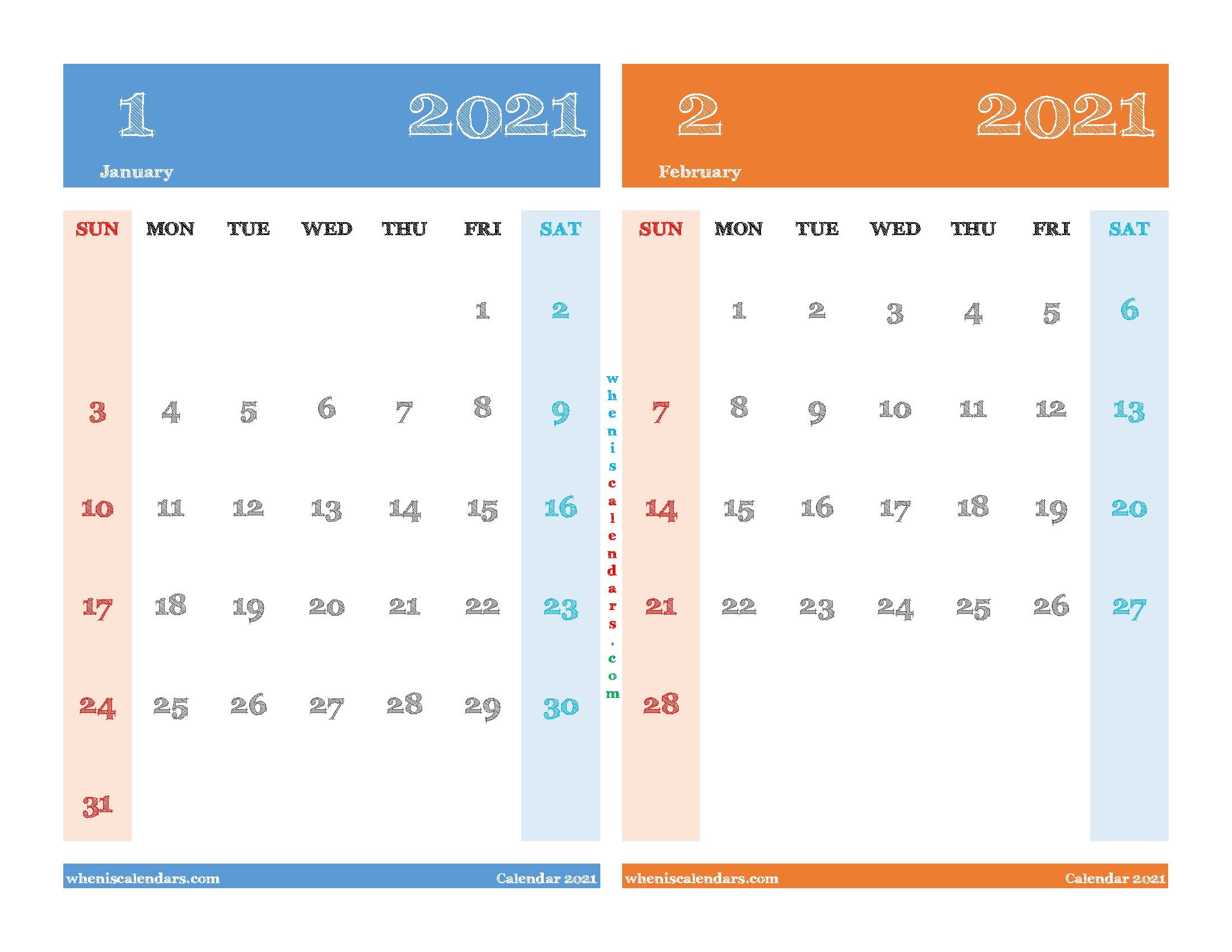 Free January and February 2021 Printable Calendar