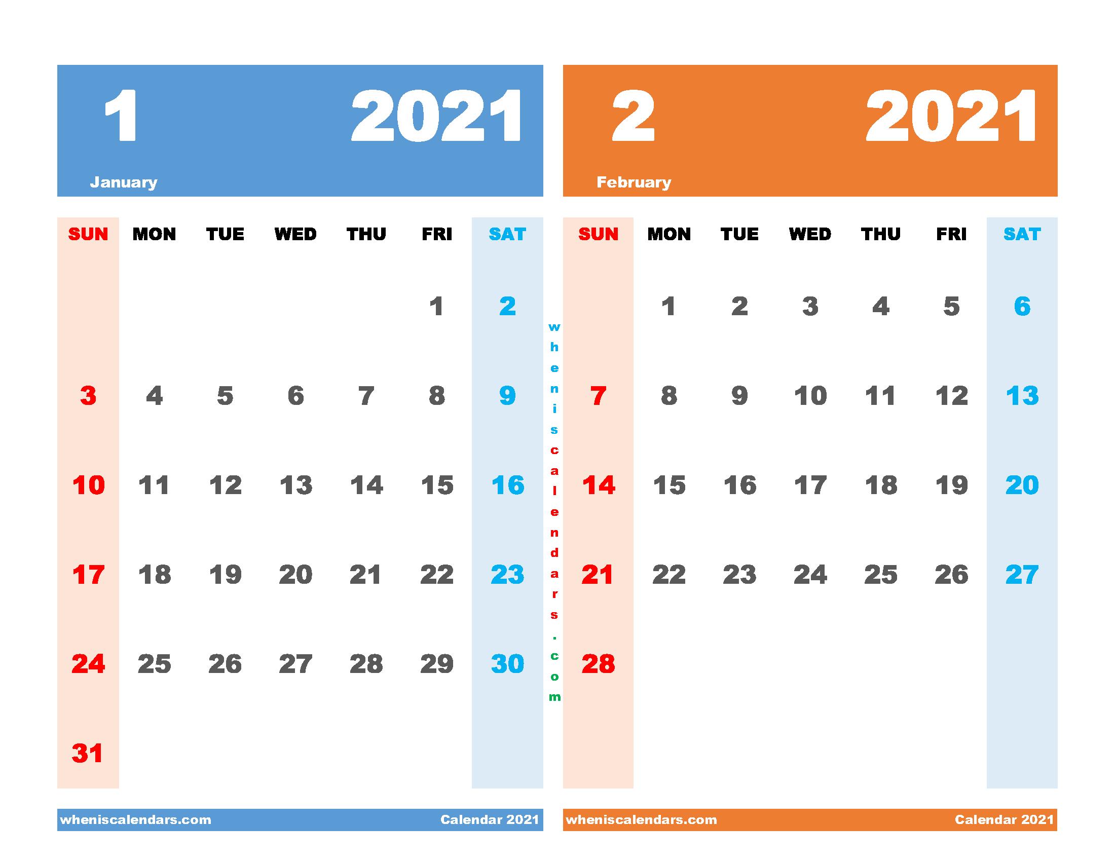 January and February 2021 Calendar Printable Free