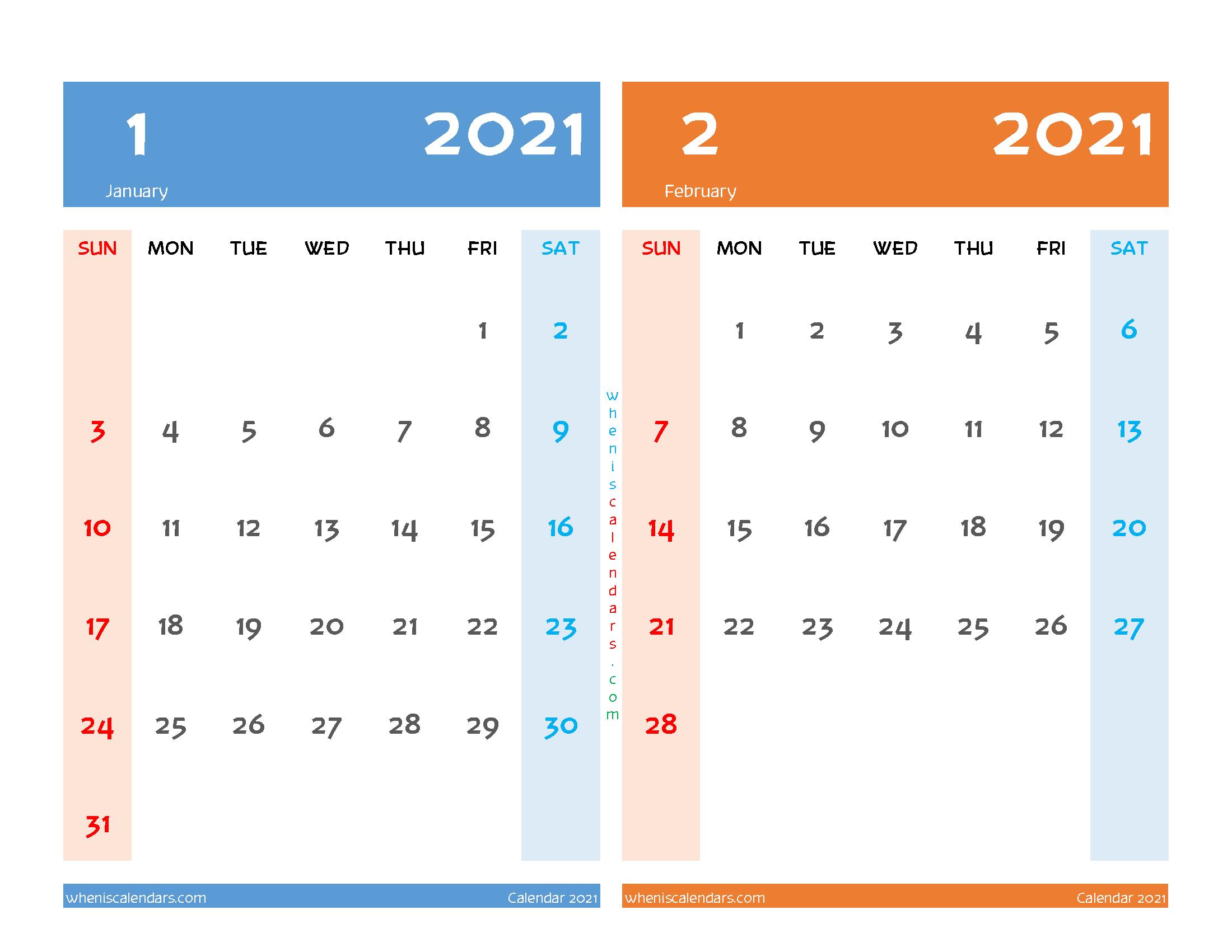 Printable January February 2021 Calendar