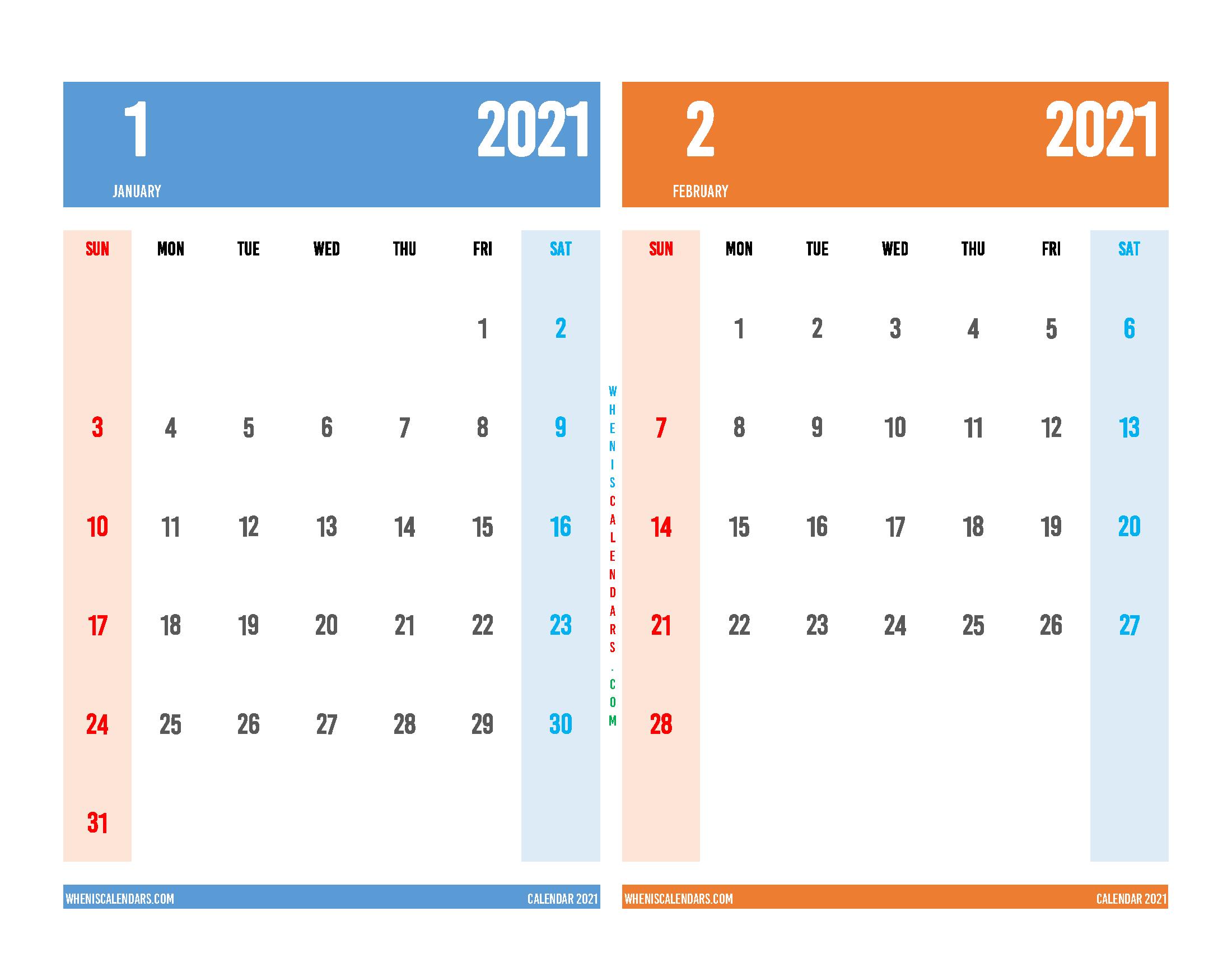 Printable Calendar January February 2021
