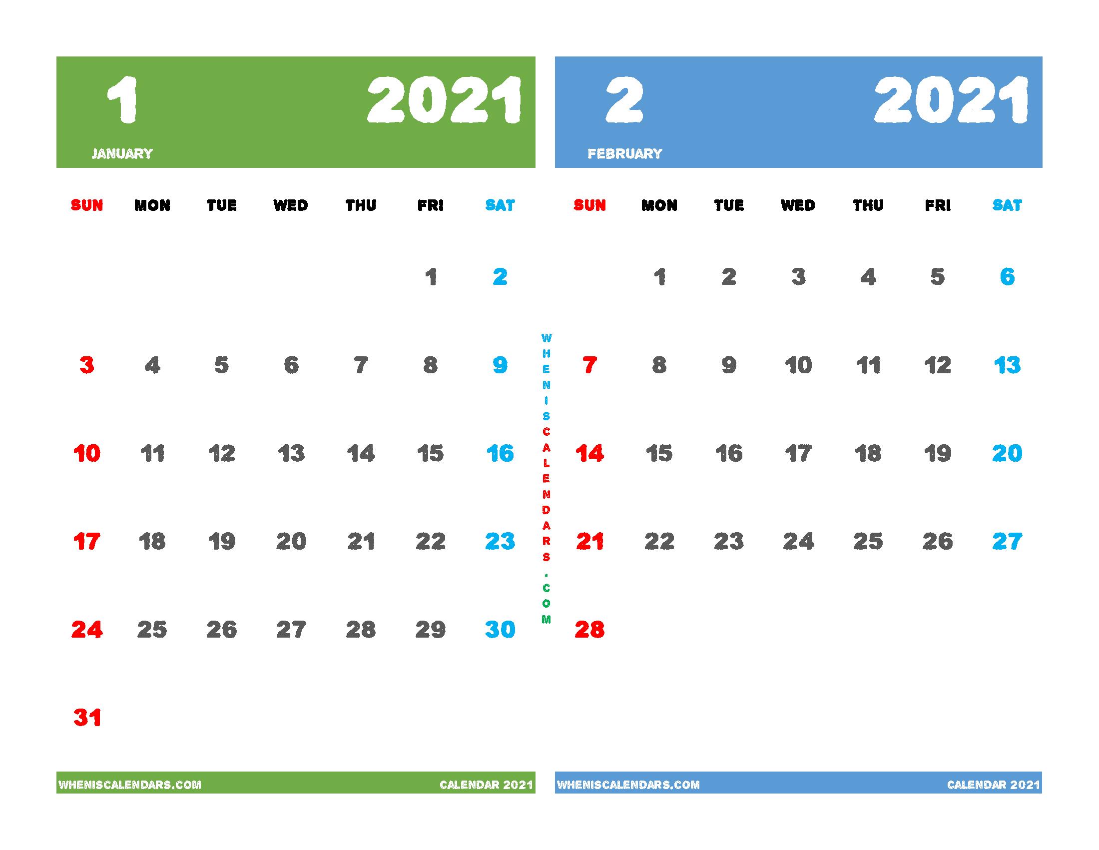 Free January and February 2021 Calendar Printable