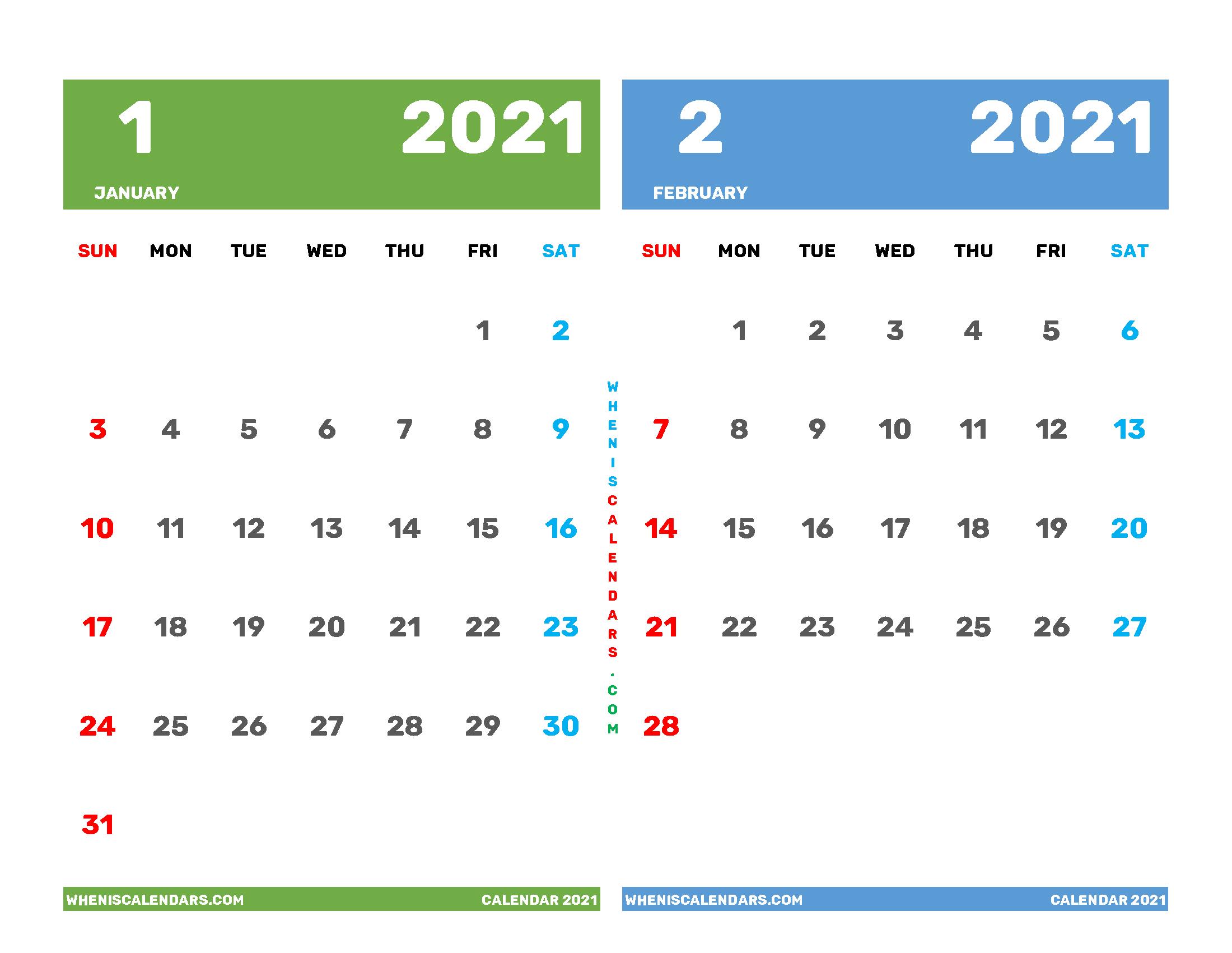 January February 2021 Calendar Printable Free