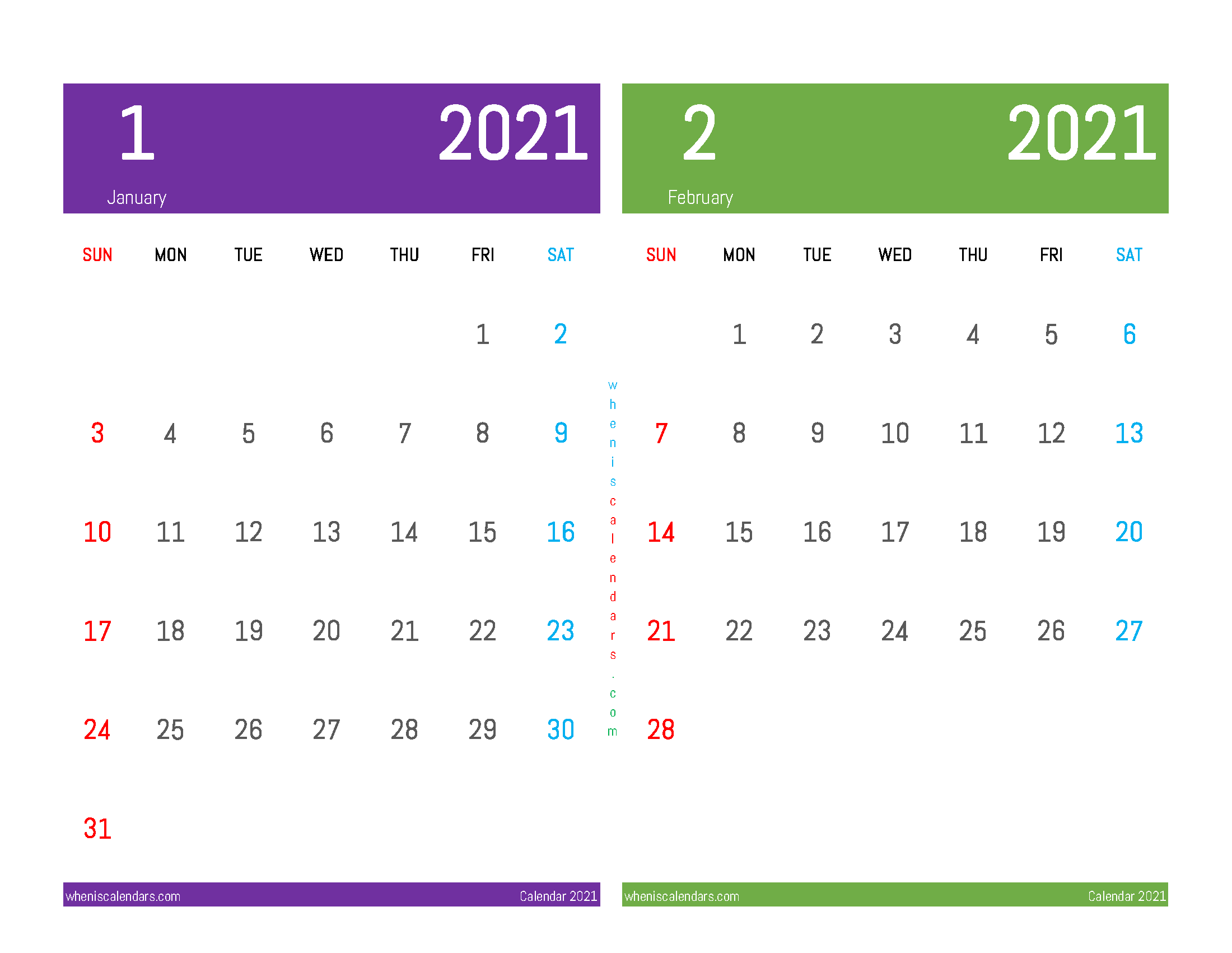 January and February 2021 Calendar Printable