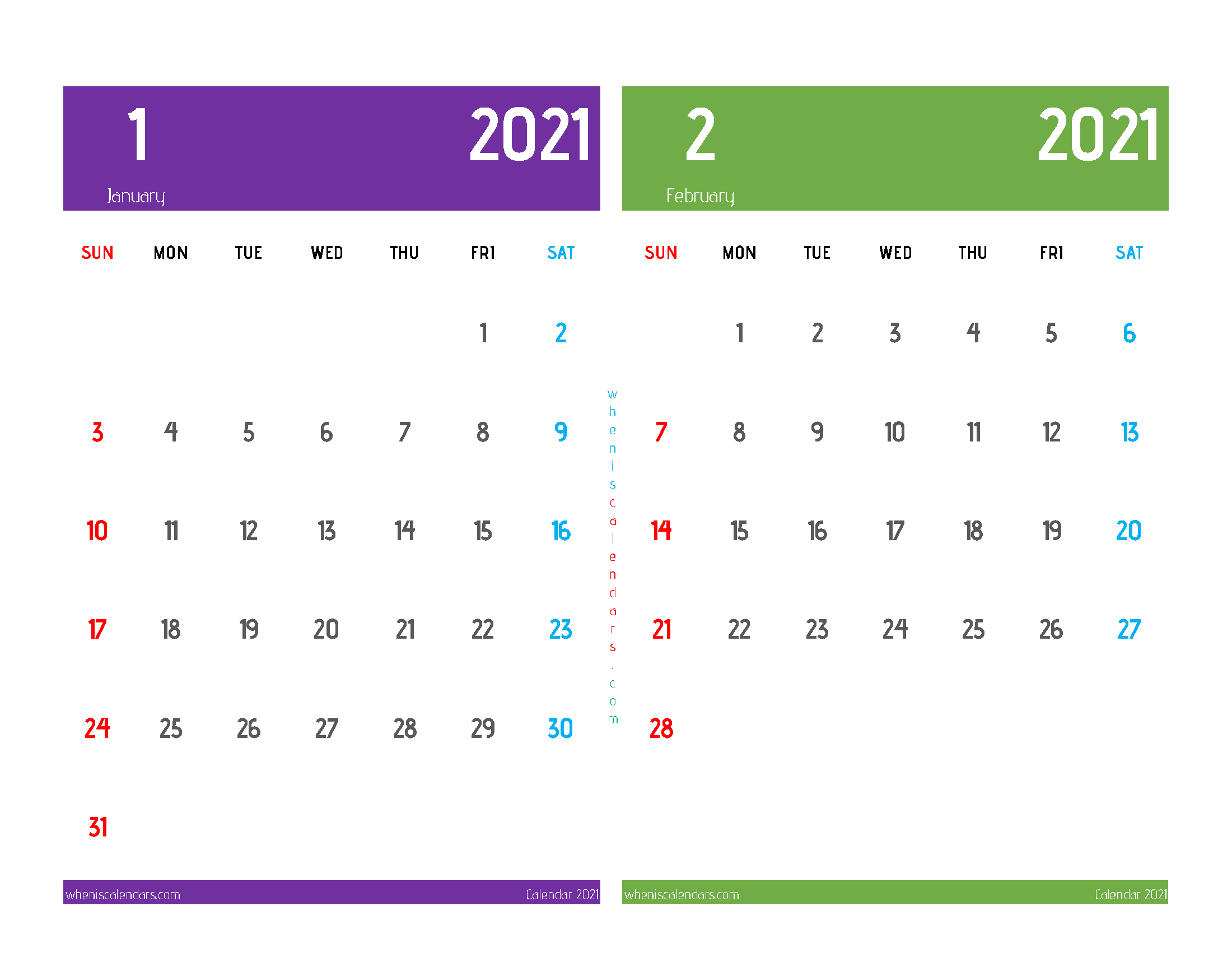 Printable Calendar January and February 2021