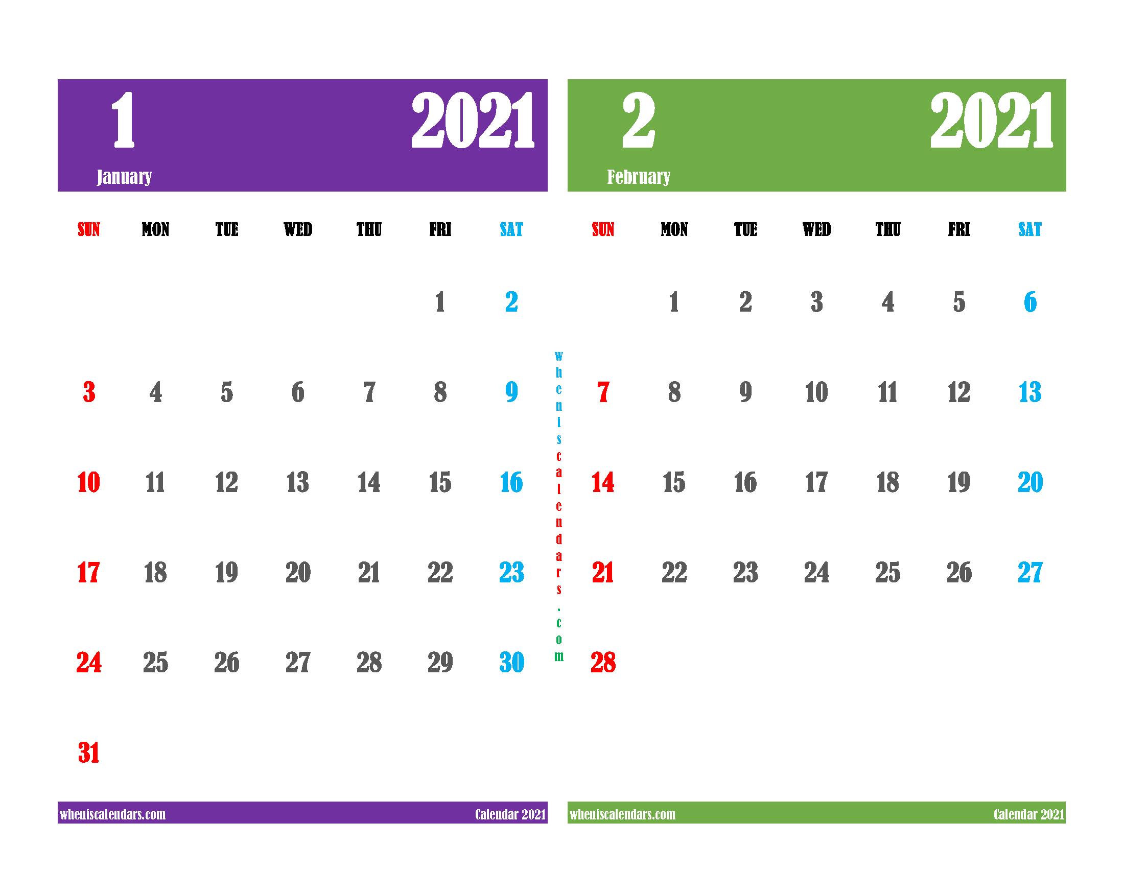 Free January February 2021 Printable Calendar