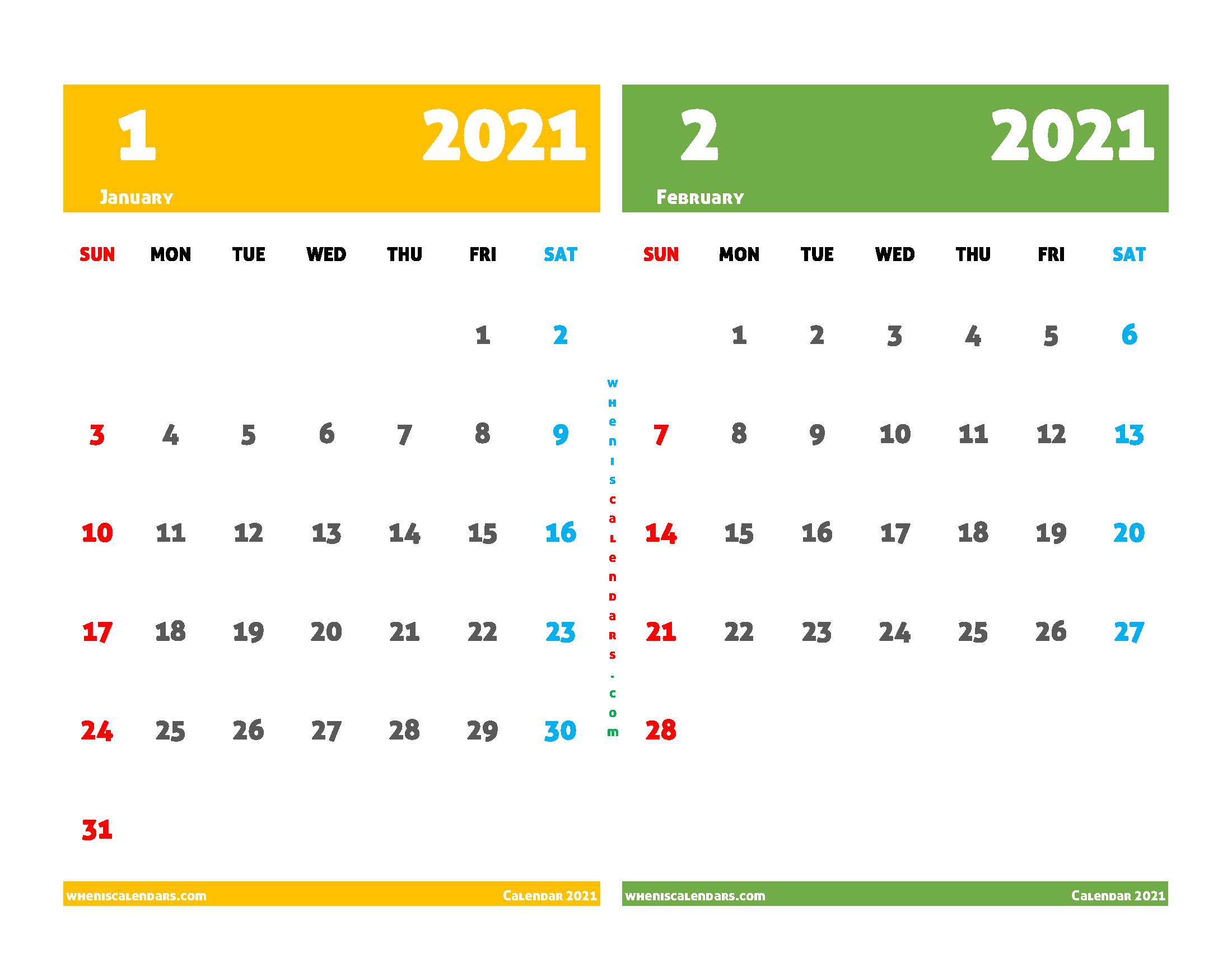 Free January and February 2021 Printable Calendar