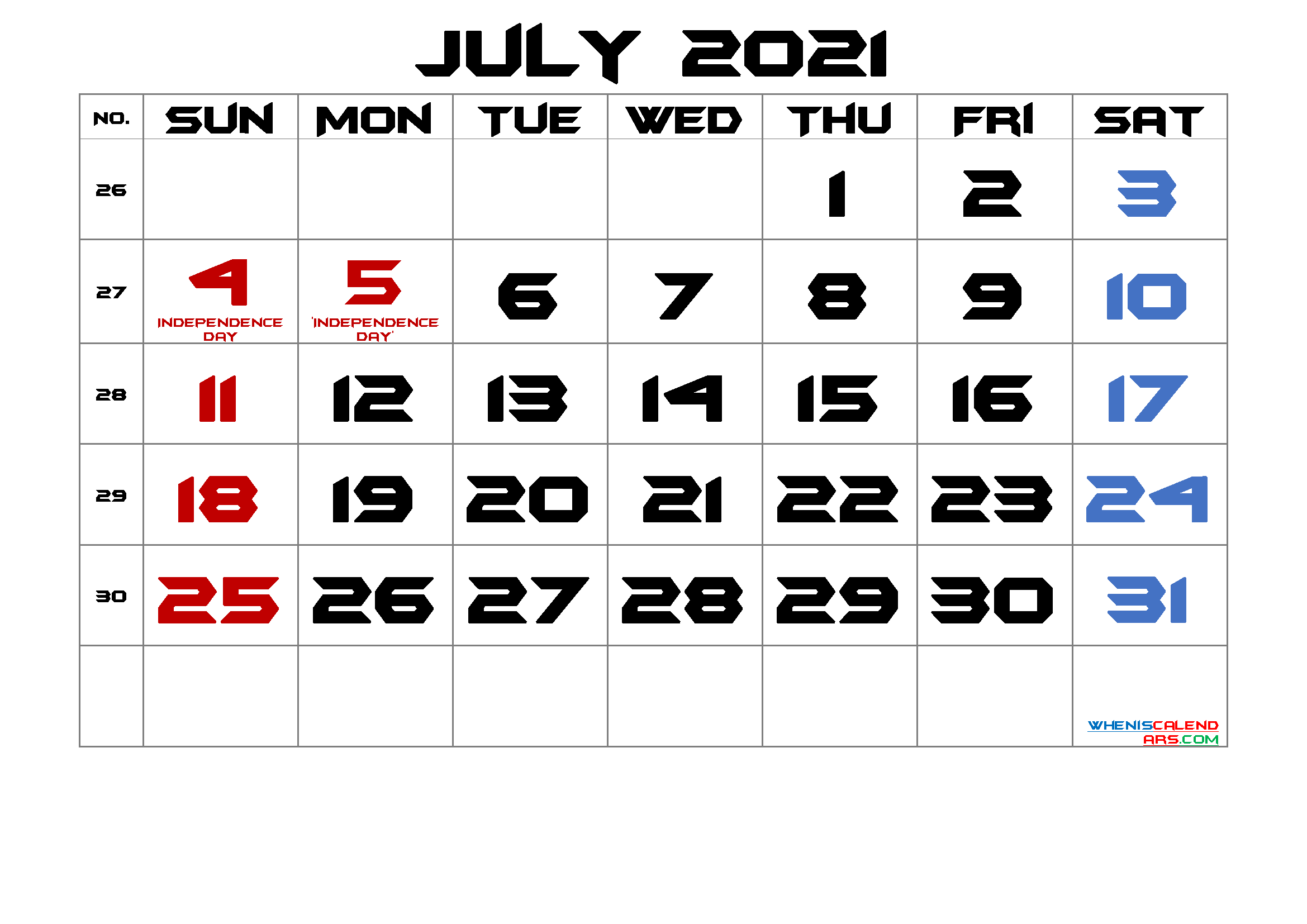 free printable july 2021 calendar with holidays