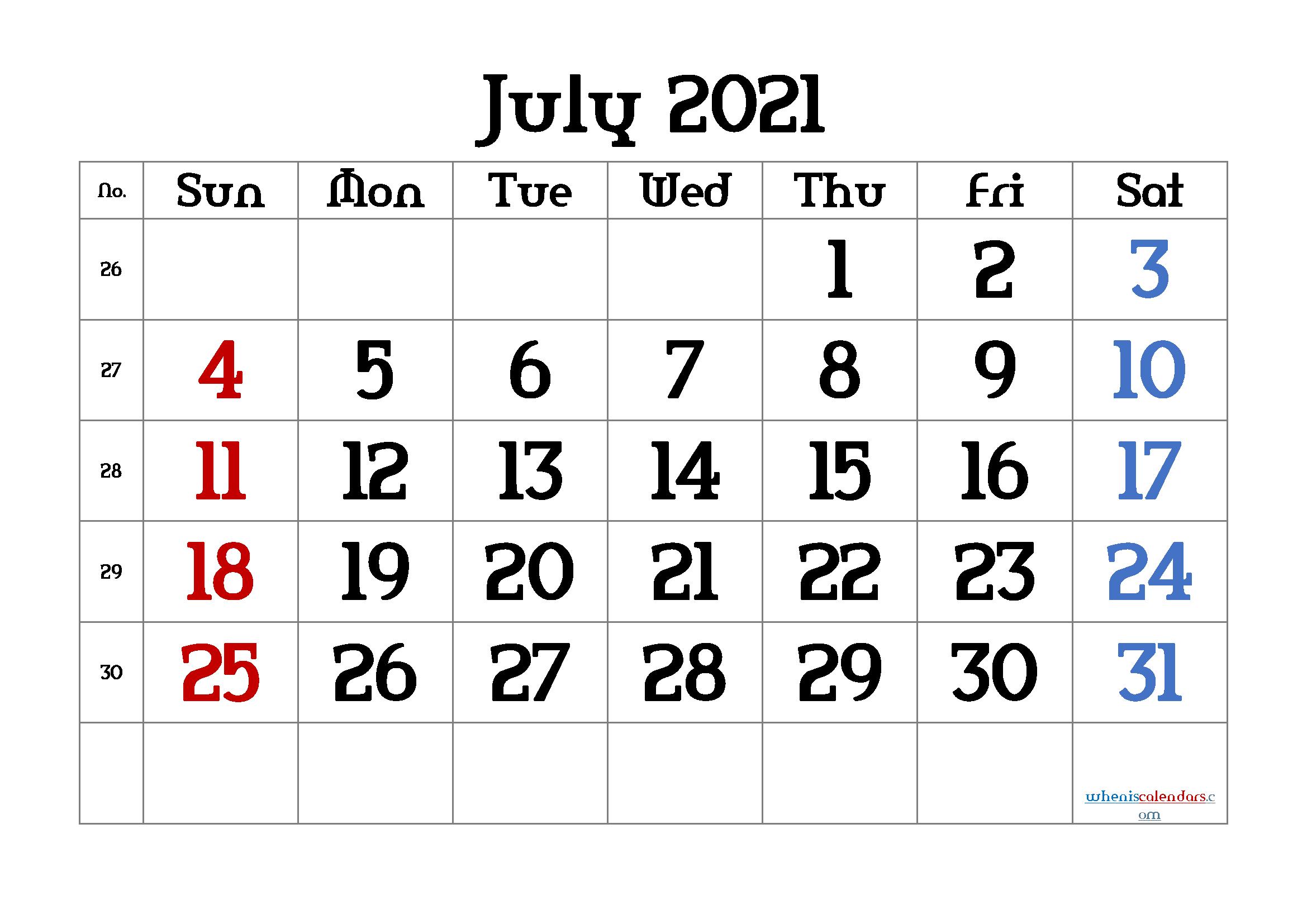 free printable july 2021 calendar with week numbers