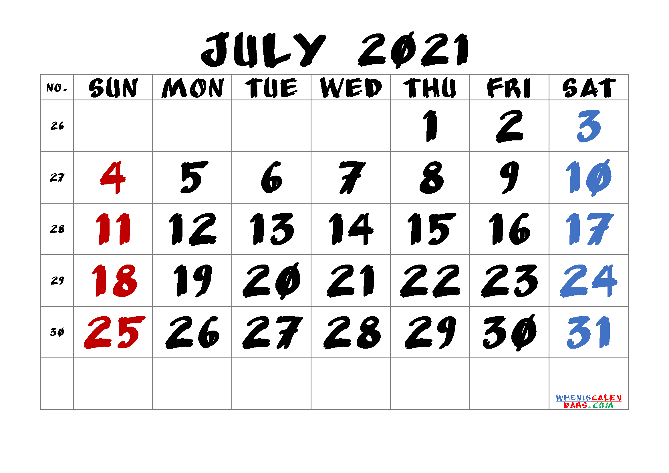 Printable Calendar for July 2021