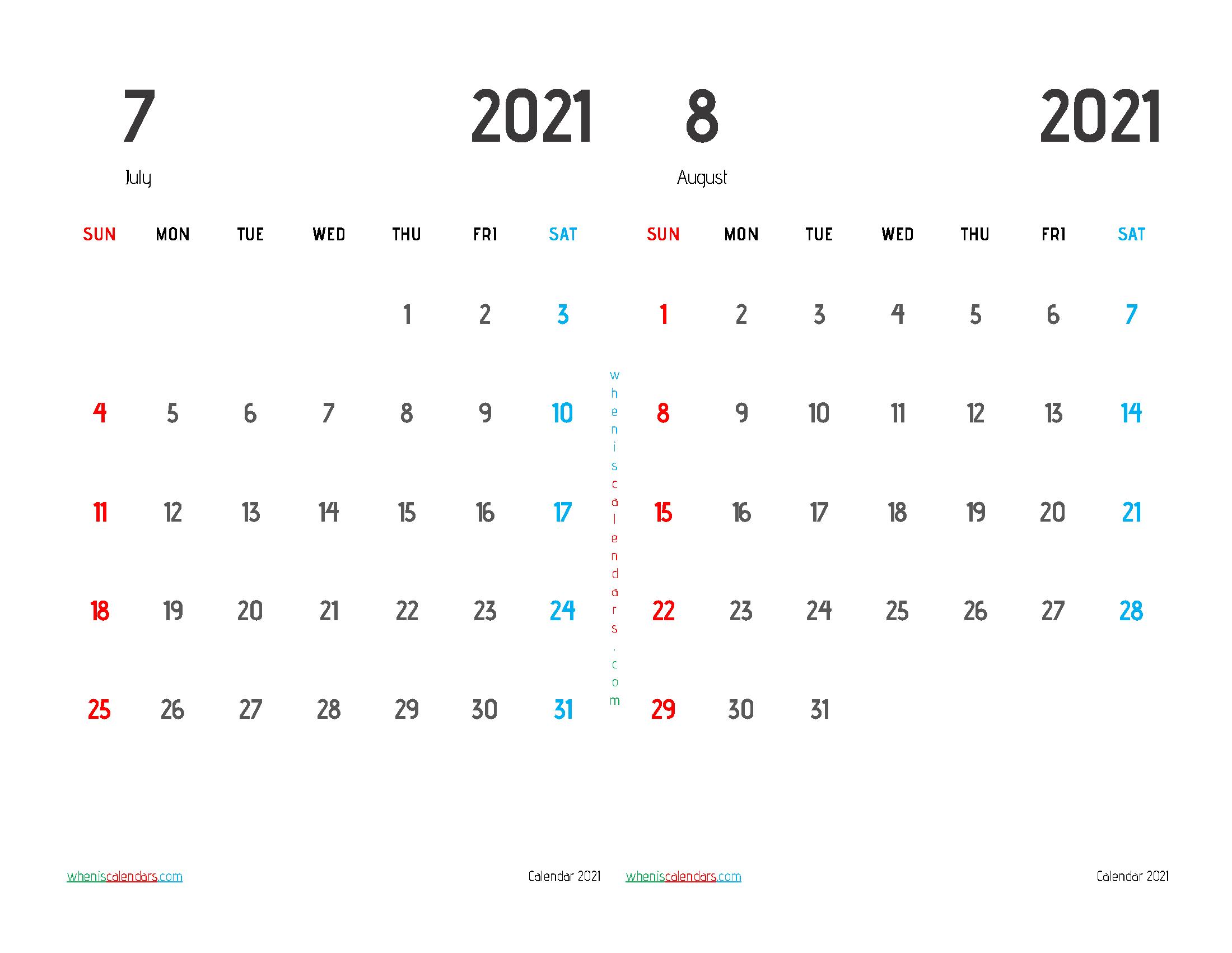 Free July August 2021 Calendar Printable