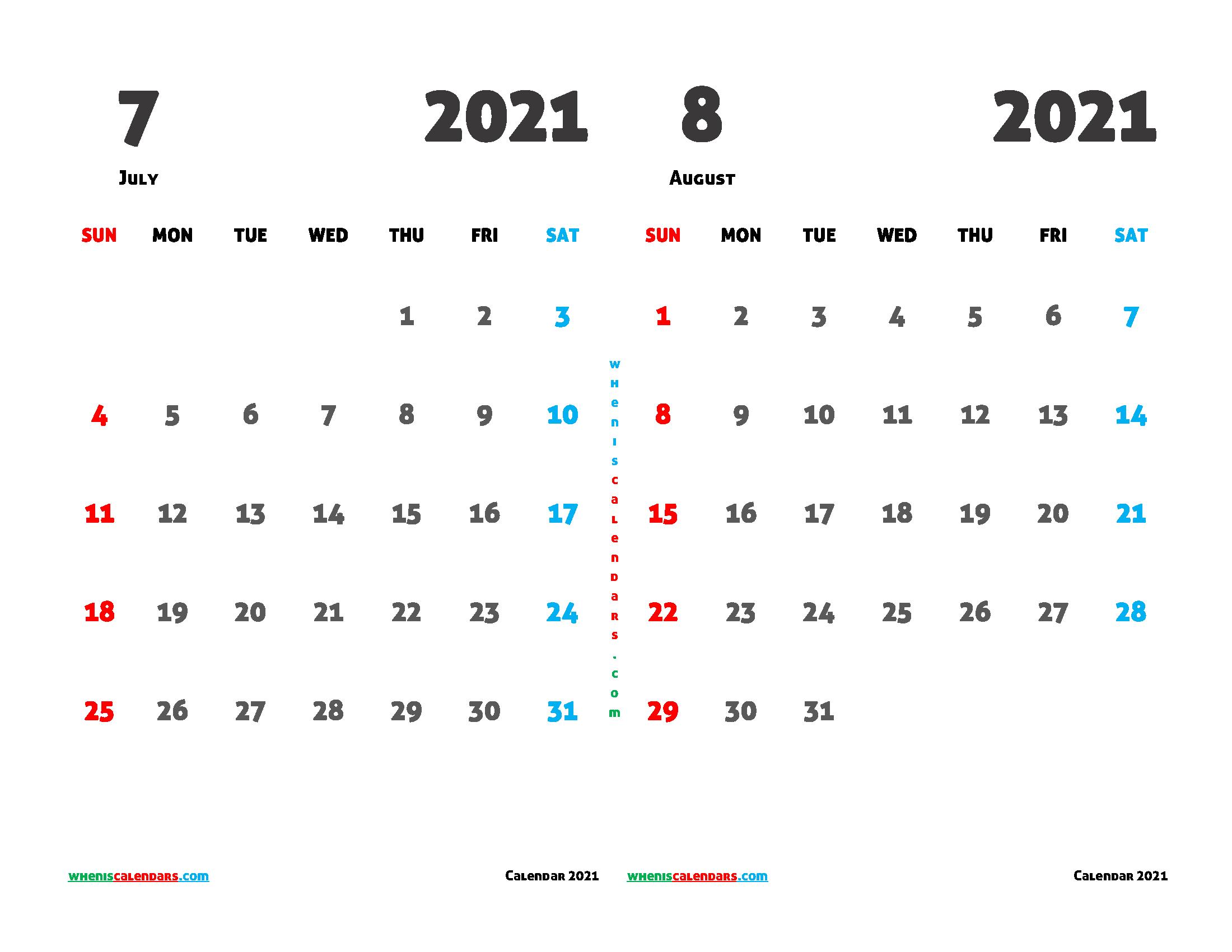 July August 2021 Calendar Printable Free