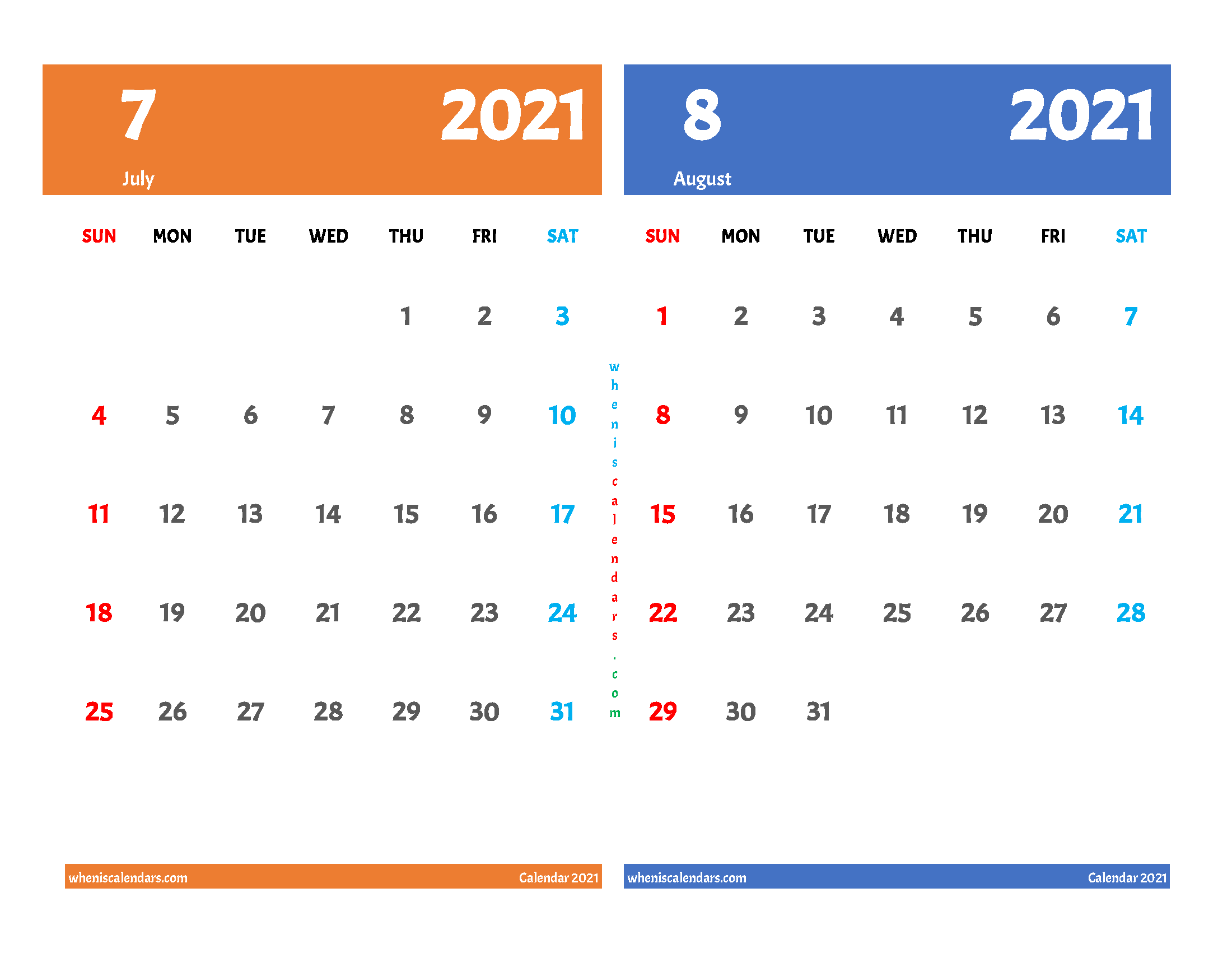 Free July and August 2021 Printable Calendar