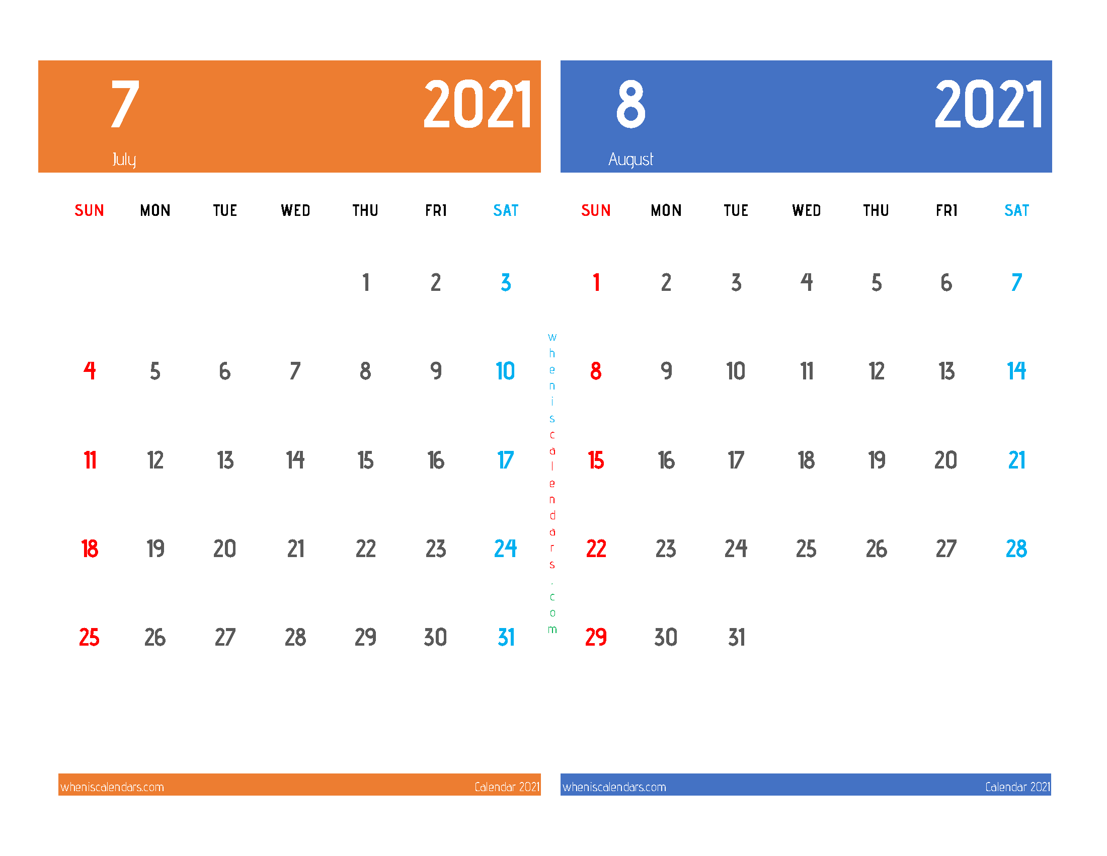July and August 2021 Calendar Printable Free