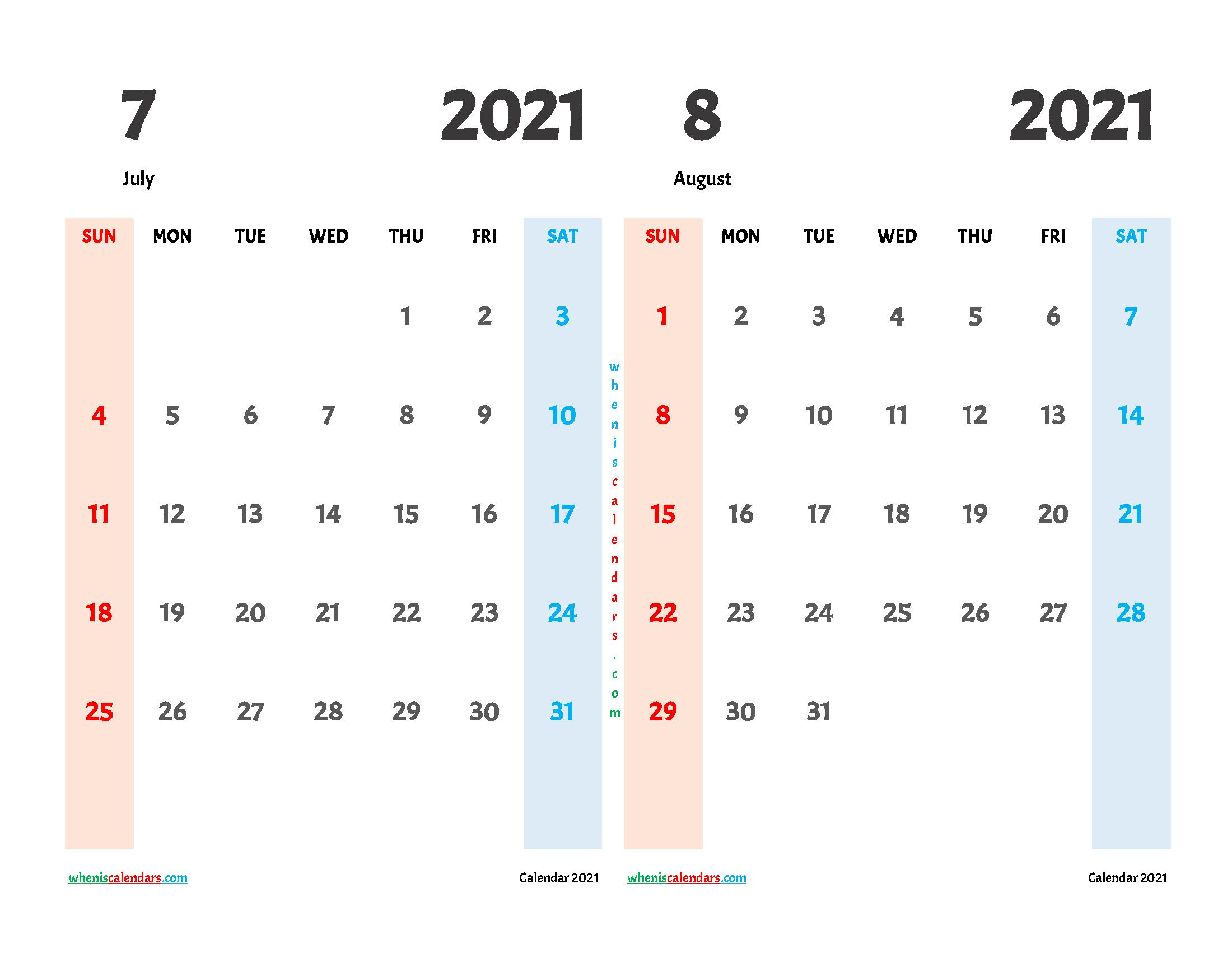 Free July August 2021 Printable Calendar