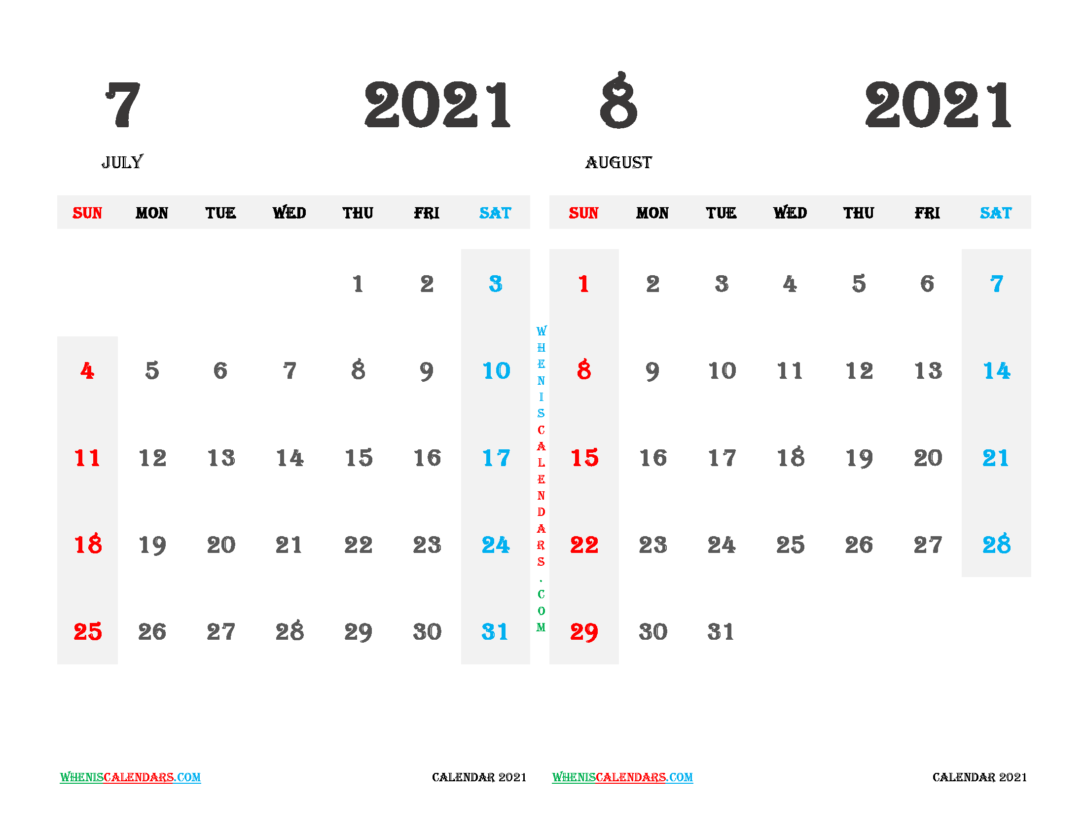 Printable July and August 2021 Calendar