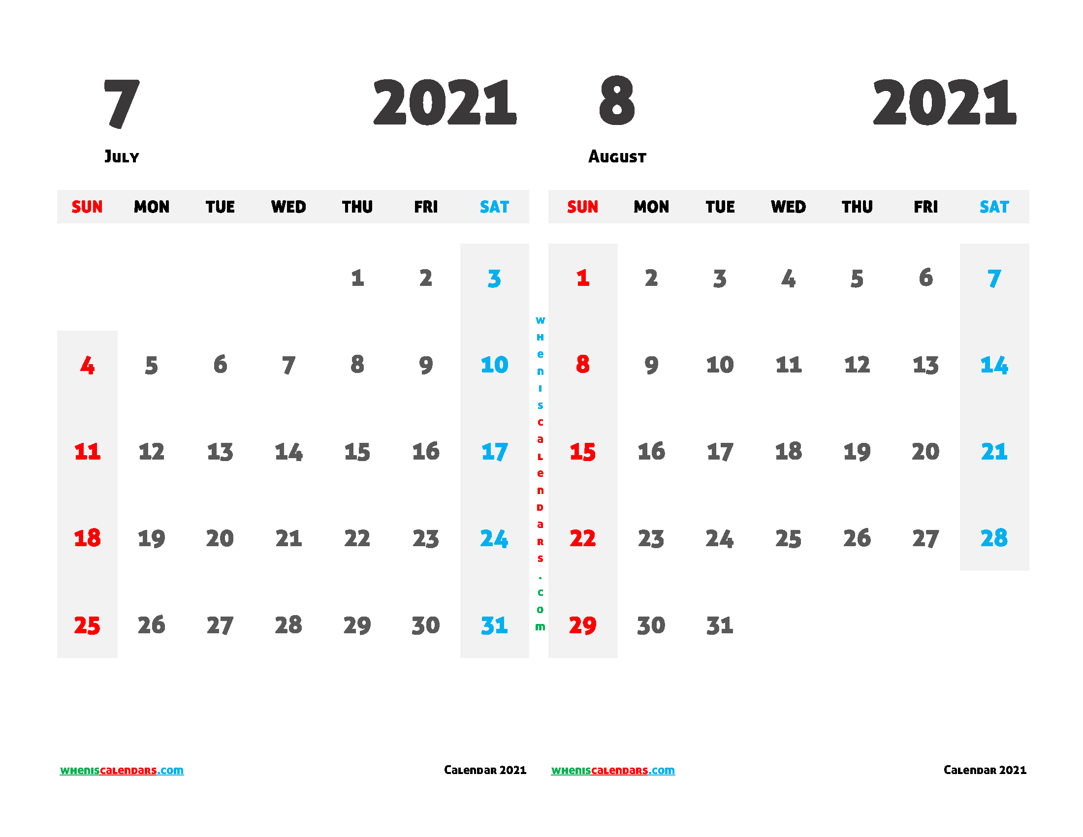 Printable Calendar July and August 2021