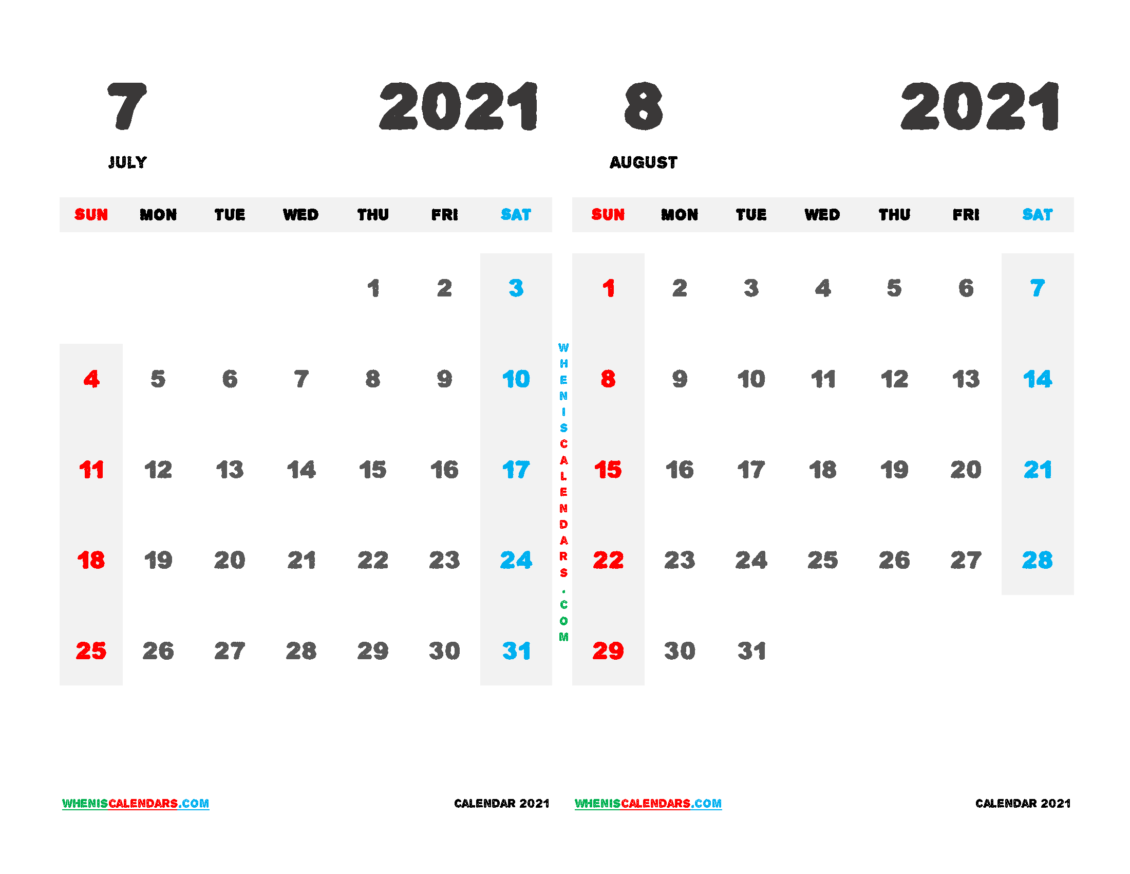 Printable Calendar 2021 July and August