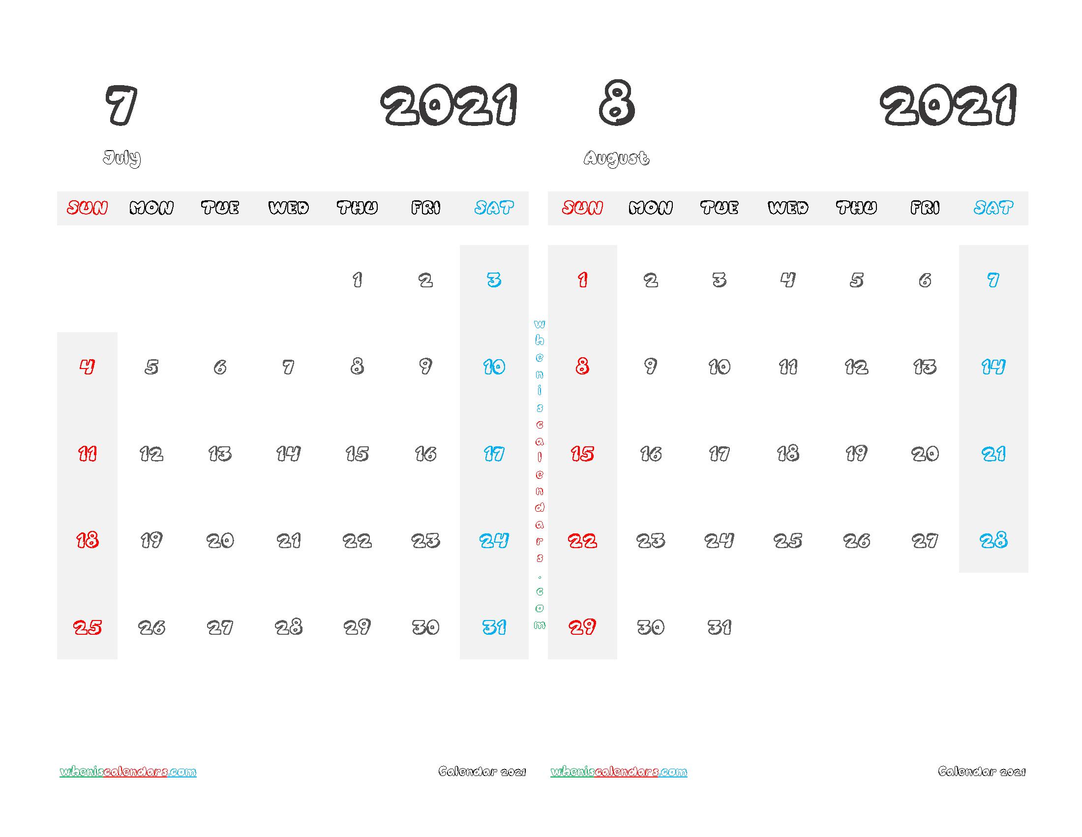 July August 2021 Calendar Printable