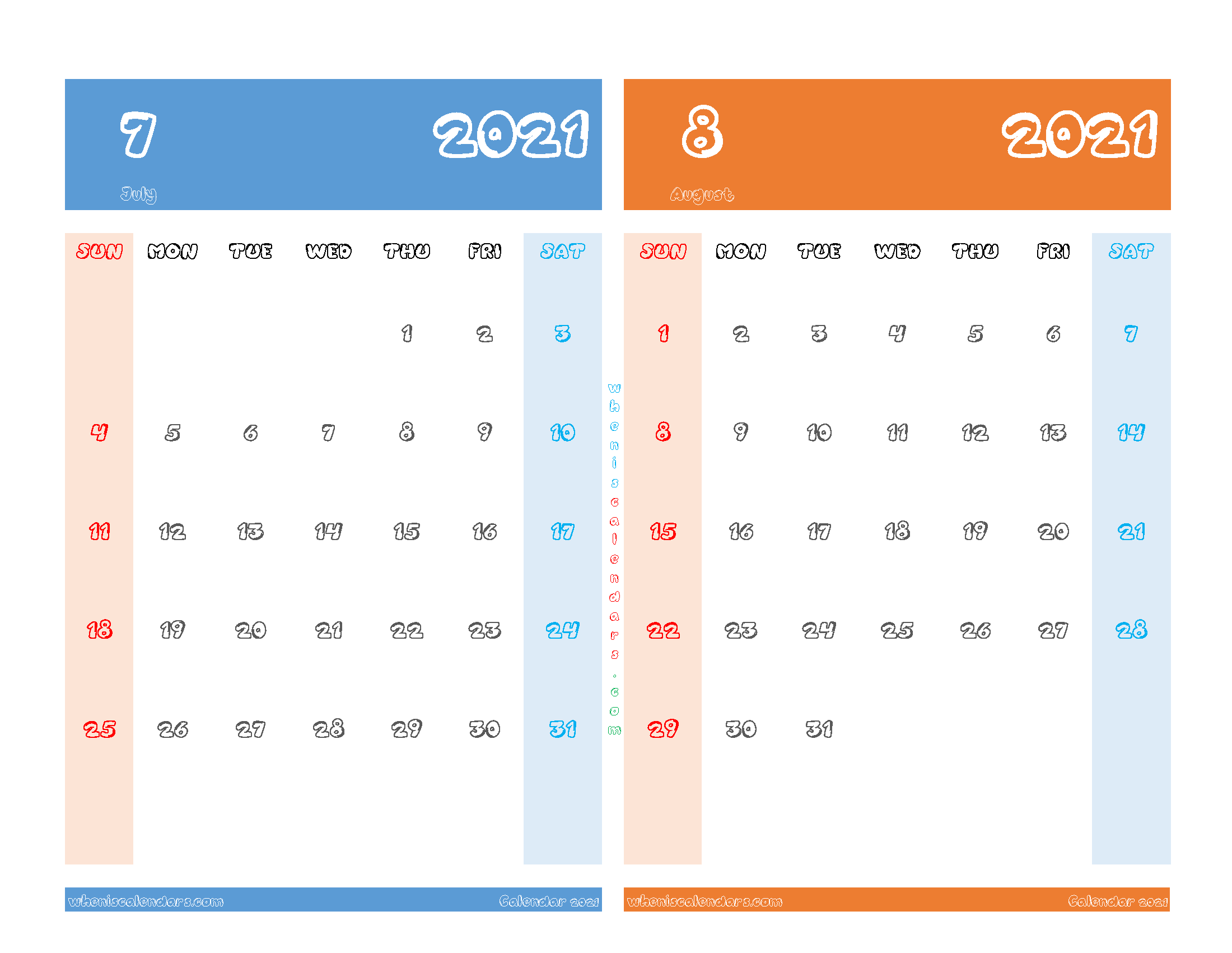 Printable Calendar July August 2021
